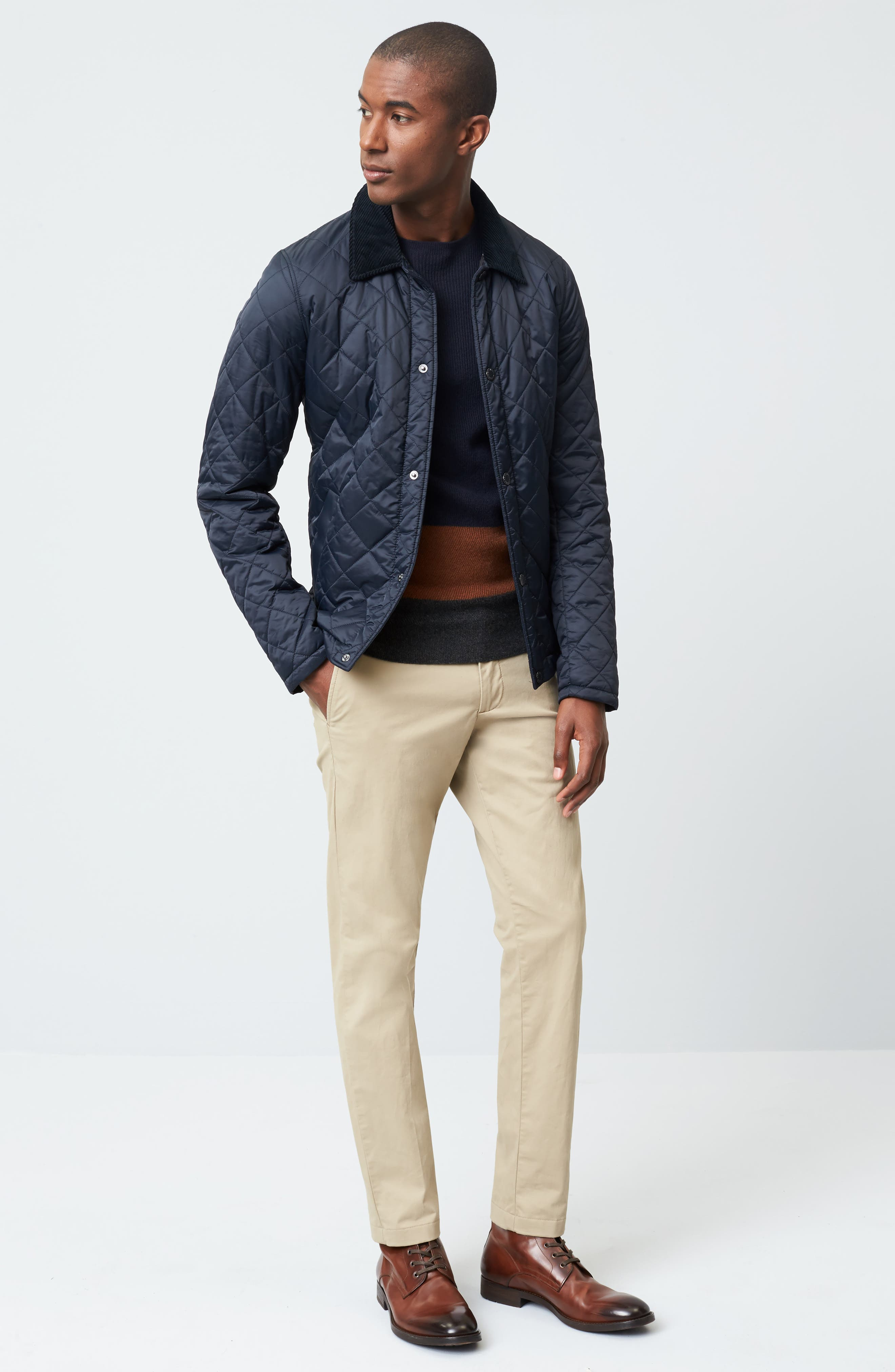 Holme Quilted Water-Resistant Jacket,                             Alternate thumbnail 8, color,                             NAVY