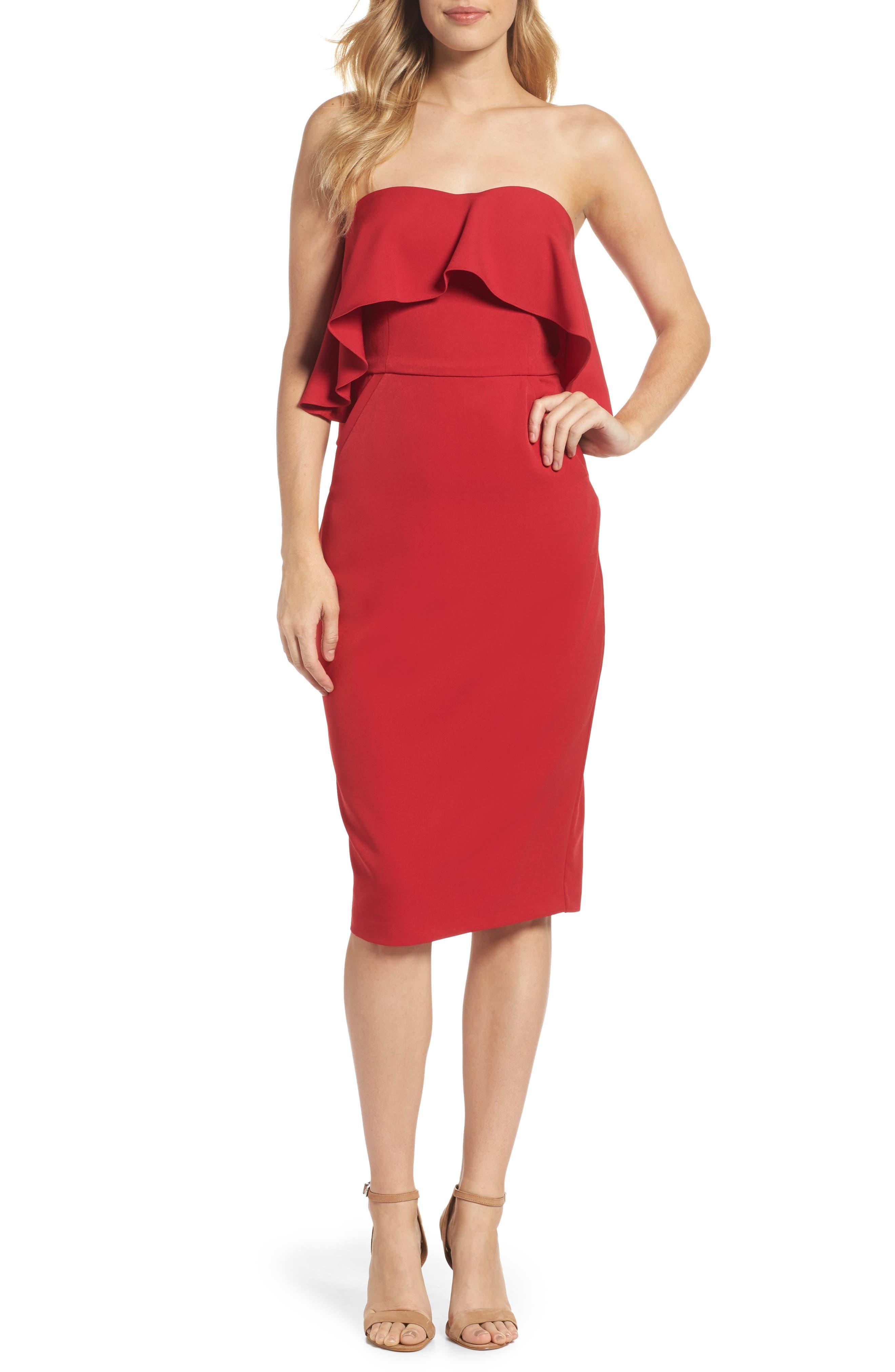 Ruffle Stretch Crepe Sheath Dress,                             Main thumbnail 4, color,