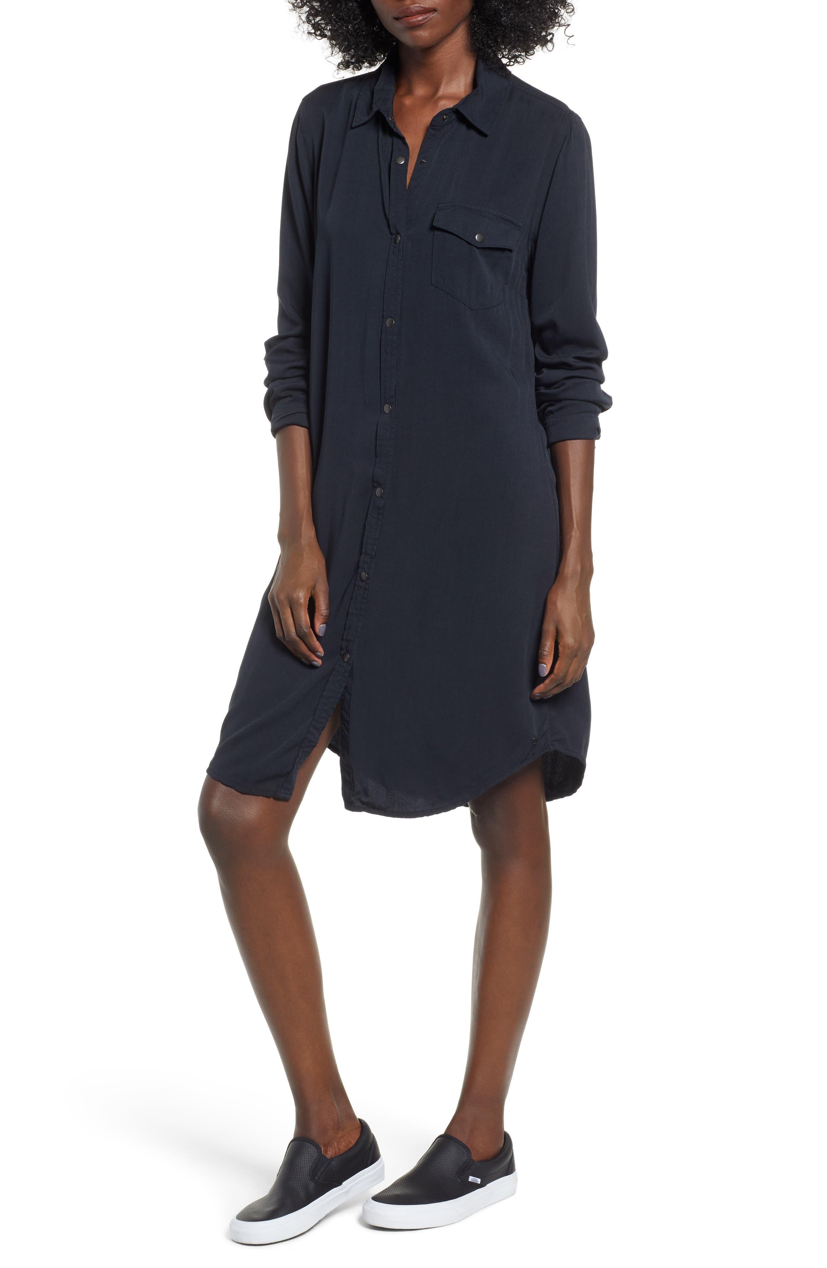 Tomini Bay View Shirtdress, Main, color, TRUE BLACK
