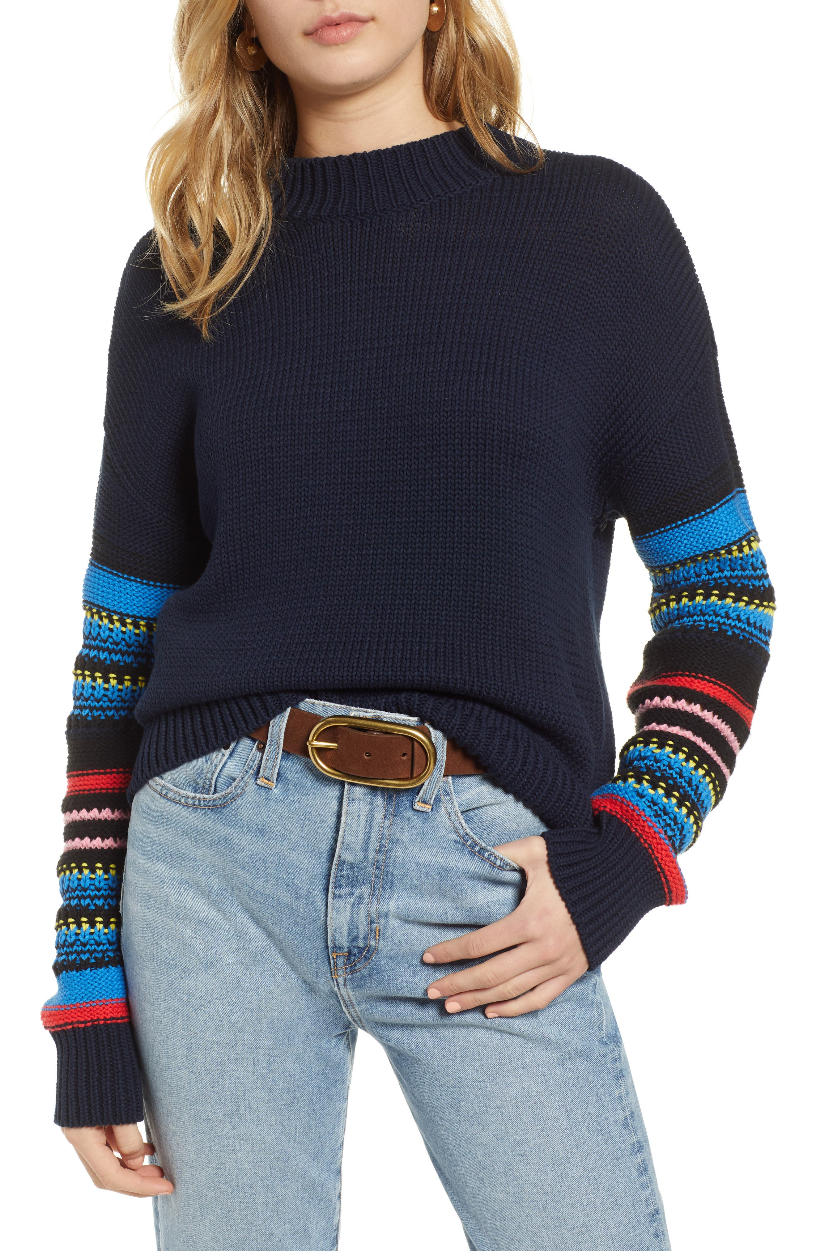Patchwork Sleeve Pullover by Treasure & Bond
