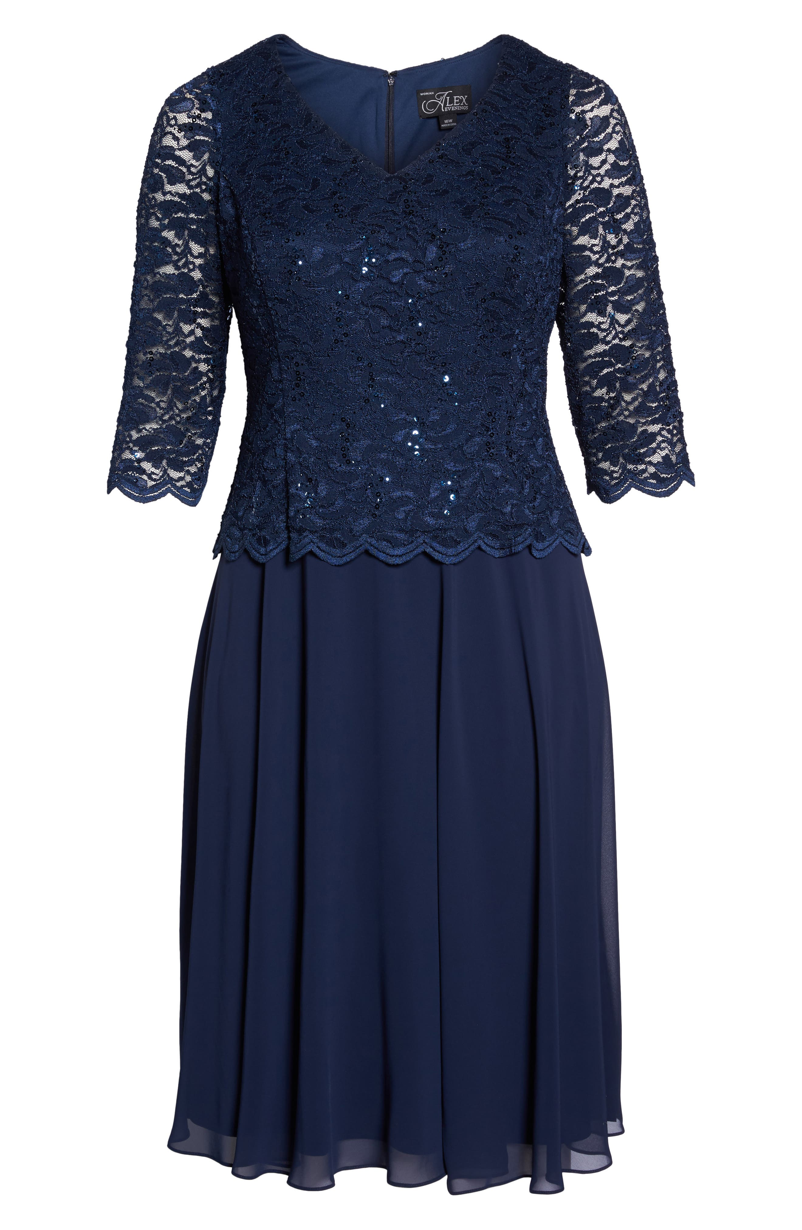 V-Neck Lace Dress,                             Alternate thumbnail 6, color,