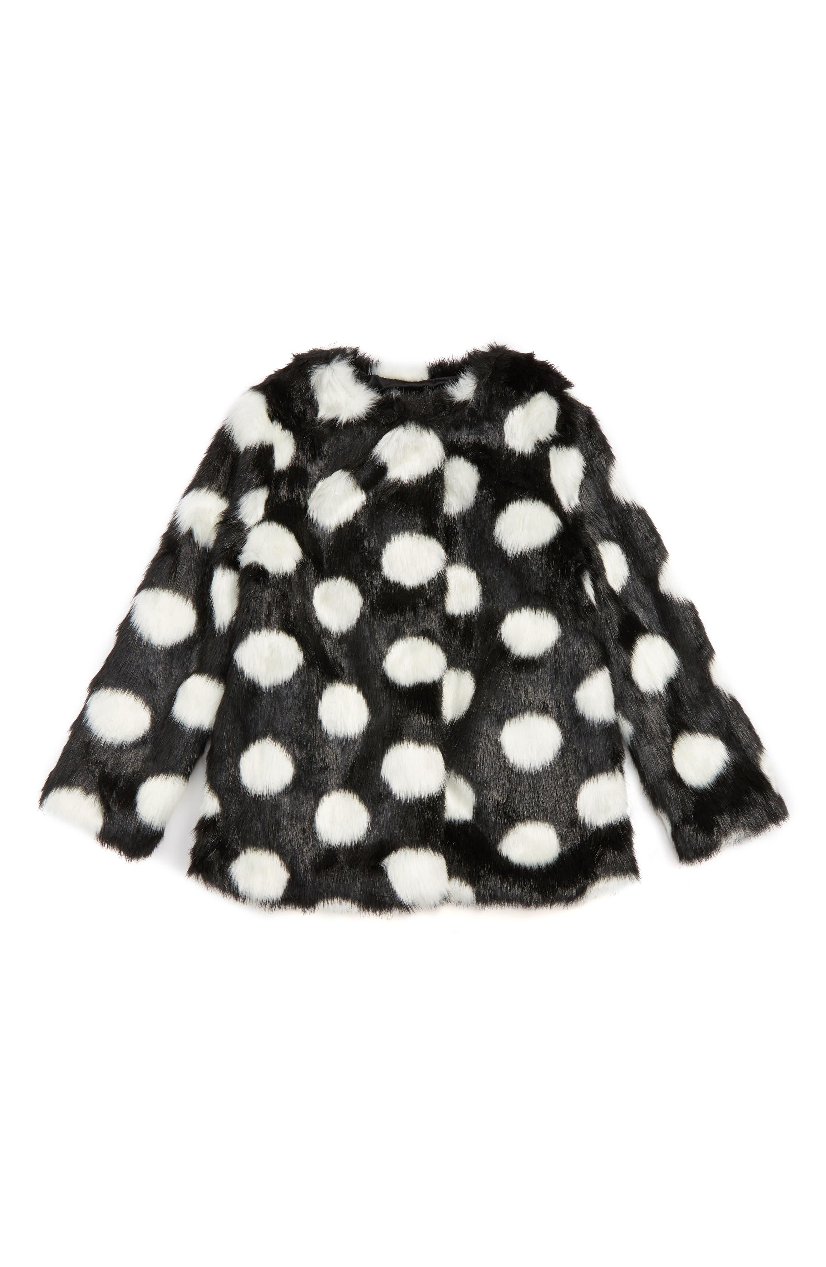 polka dot faux fur coat,                             Main thumbnail 1, color,                             001