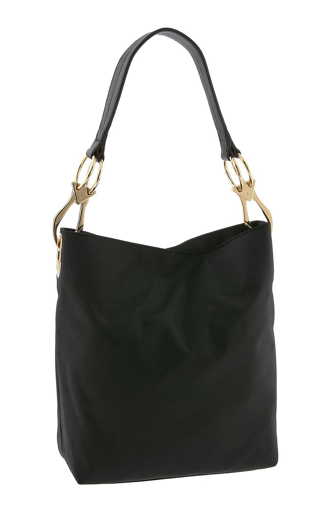 JPK PARIS Nylon Shoulder Bag with Chunky Hardware, Main, color, 001