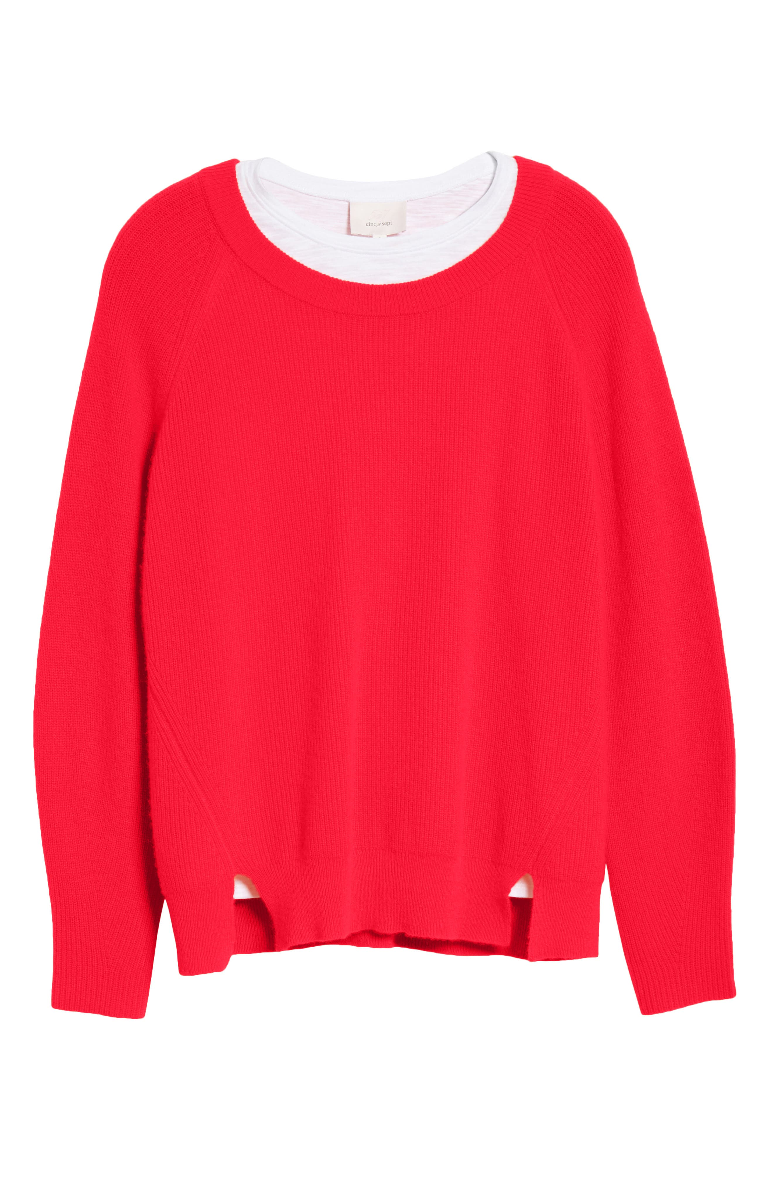 Lillie Layered Cashmere Sweater,                             Alternate thumbnail 6, color,                             POPPY PINK