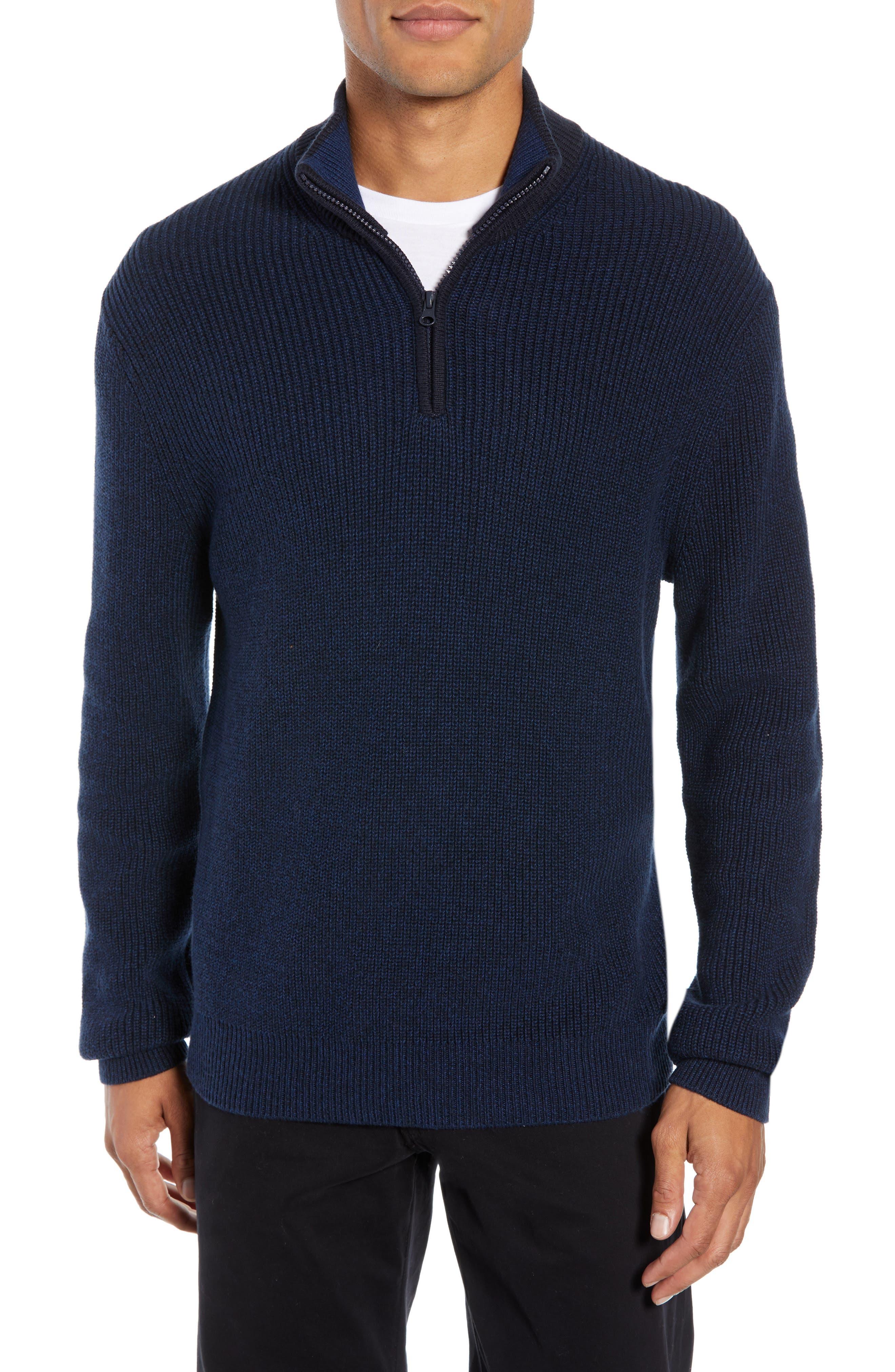 ZACHARY PRELL Fillmore Quarter Zip Sweater in Navy