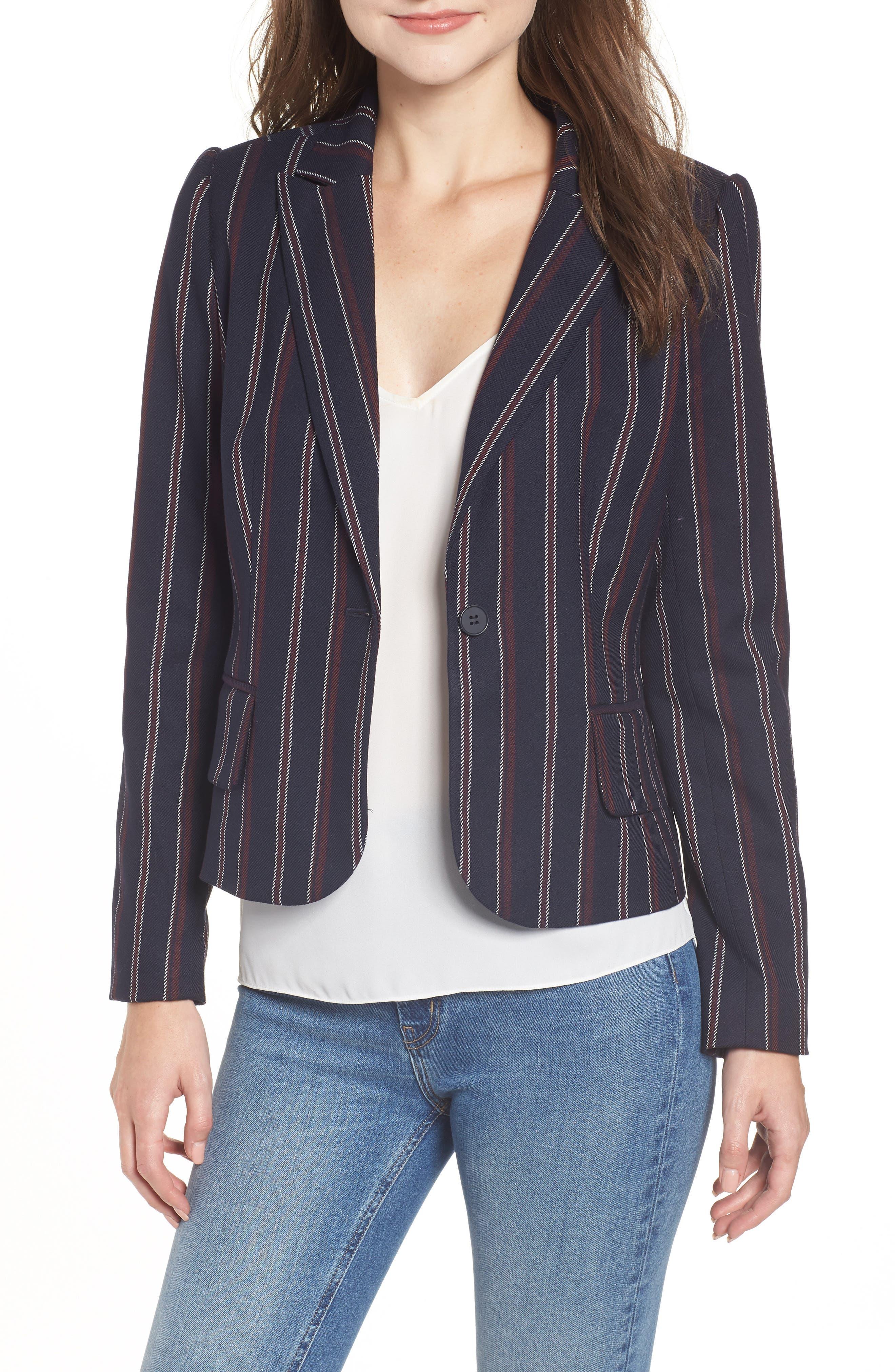 Fem Stripe Crop Blazer,                         Main,                         color, NAVY JAMIE STRIPE