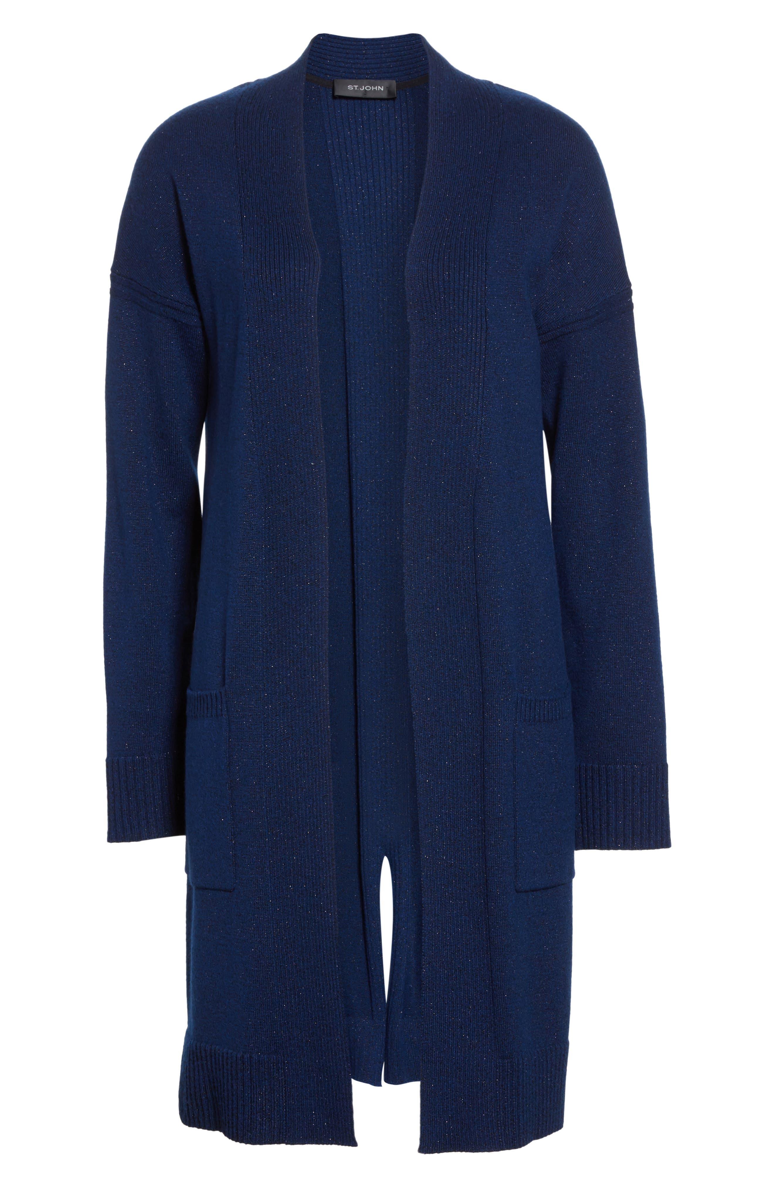 Jersey Cashmere Blend Sparkle Knit Jacket,                             Alternate thumbnail 5, color,                             410