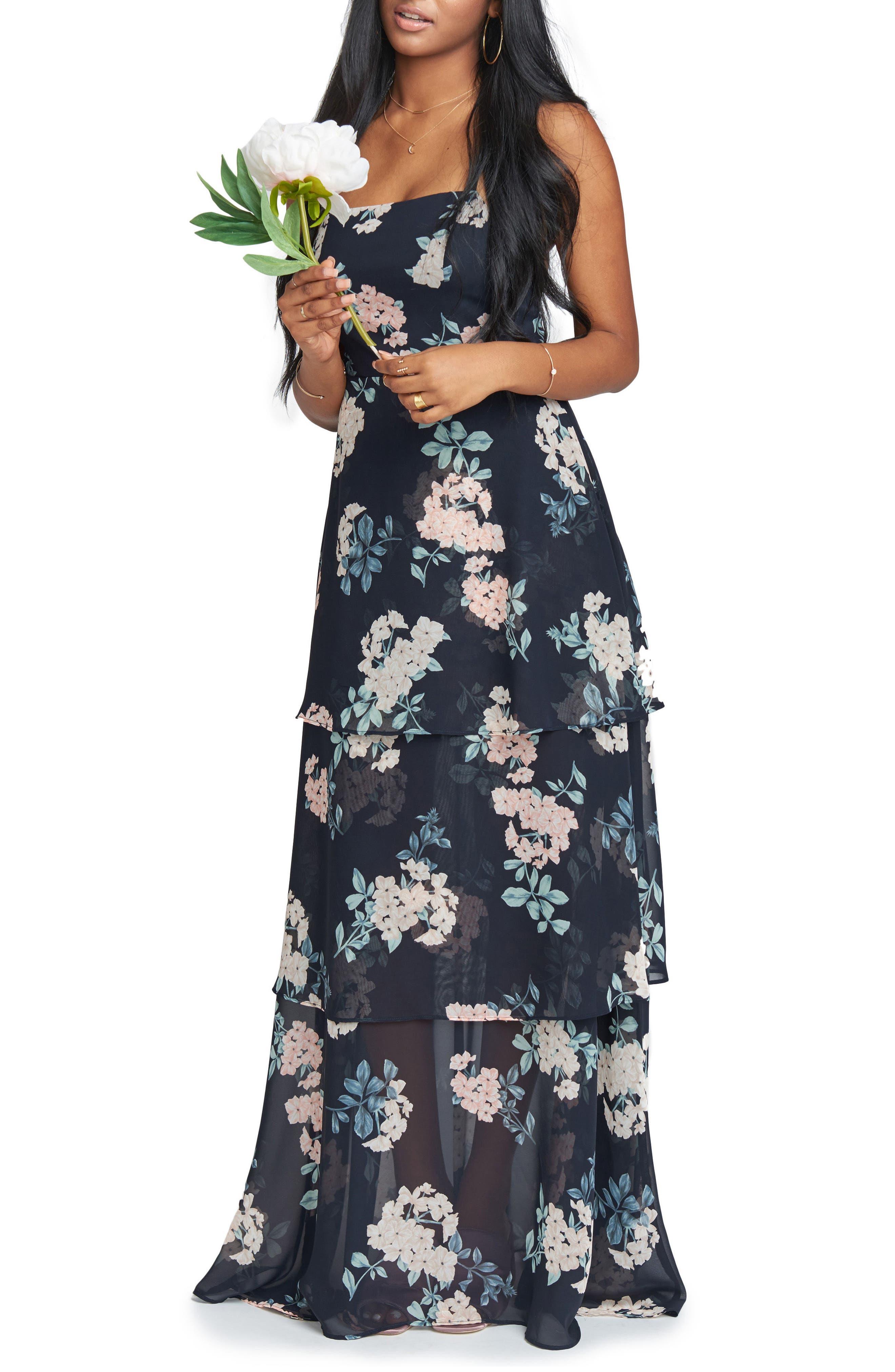 Calypso Strappy Tiered Maxi Dress,                         Main,                         color, 001