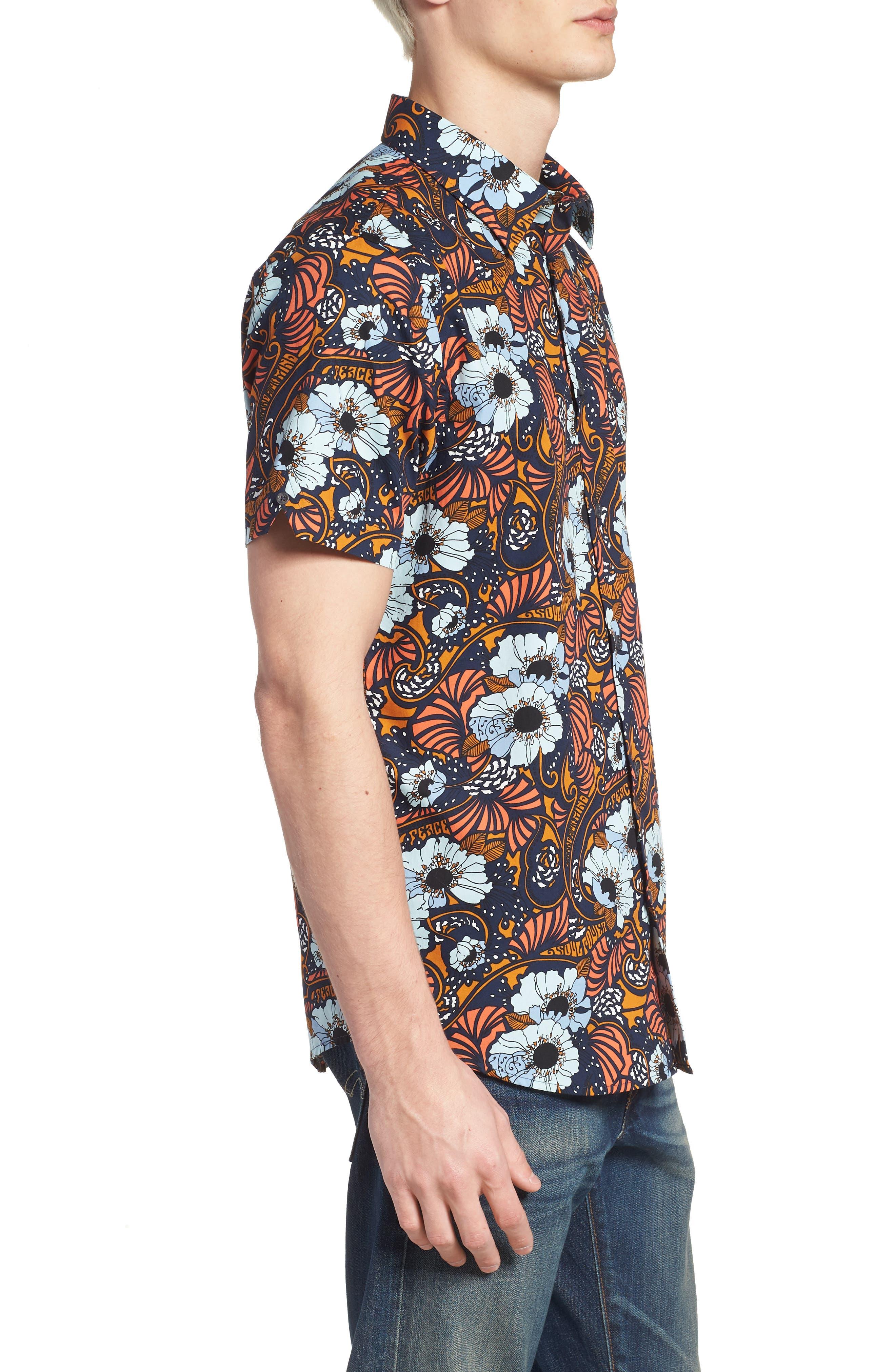 Psychedelic Floral Modern Fit Short Sleeve Sport Shirt,                             Alternate thumbnail 3, color,                             402