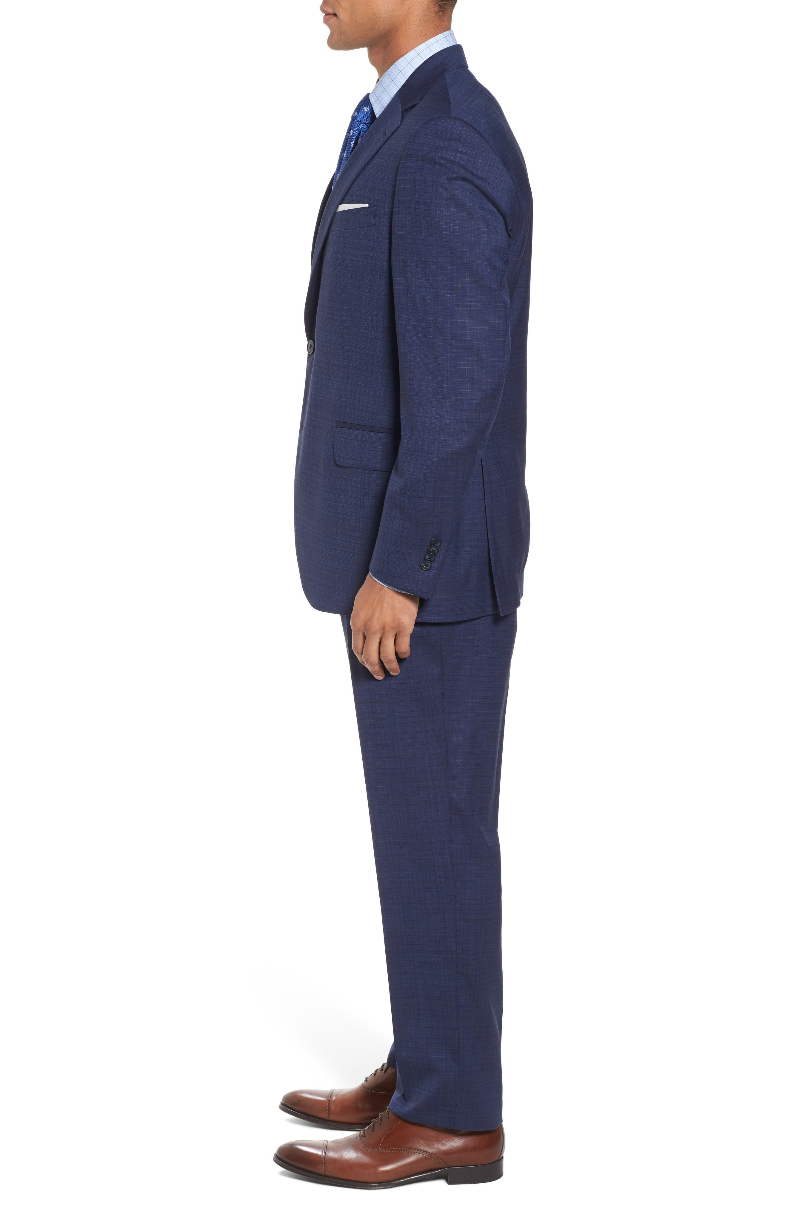 Classic Fit Check Wool Suit,                             Alternate thumbnail 3, color,                             400