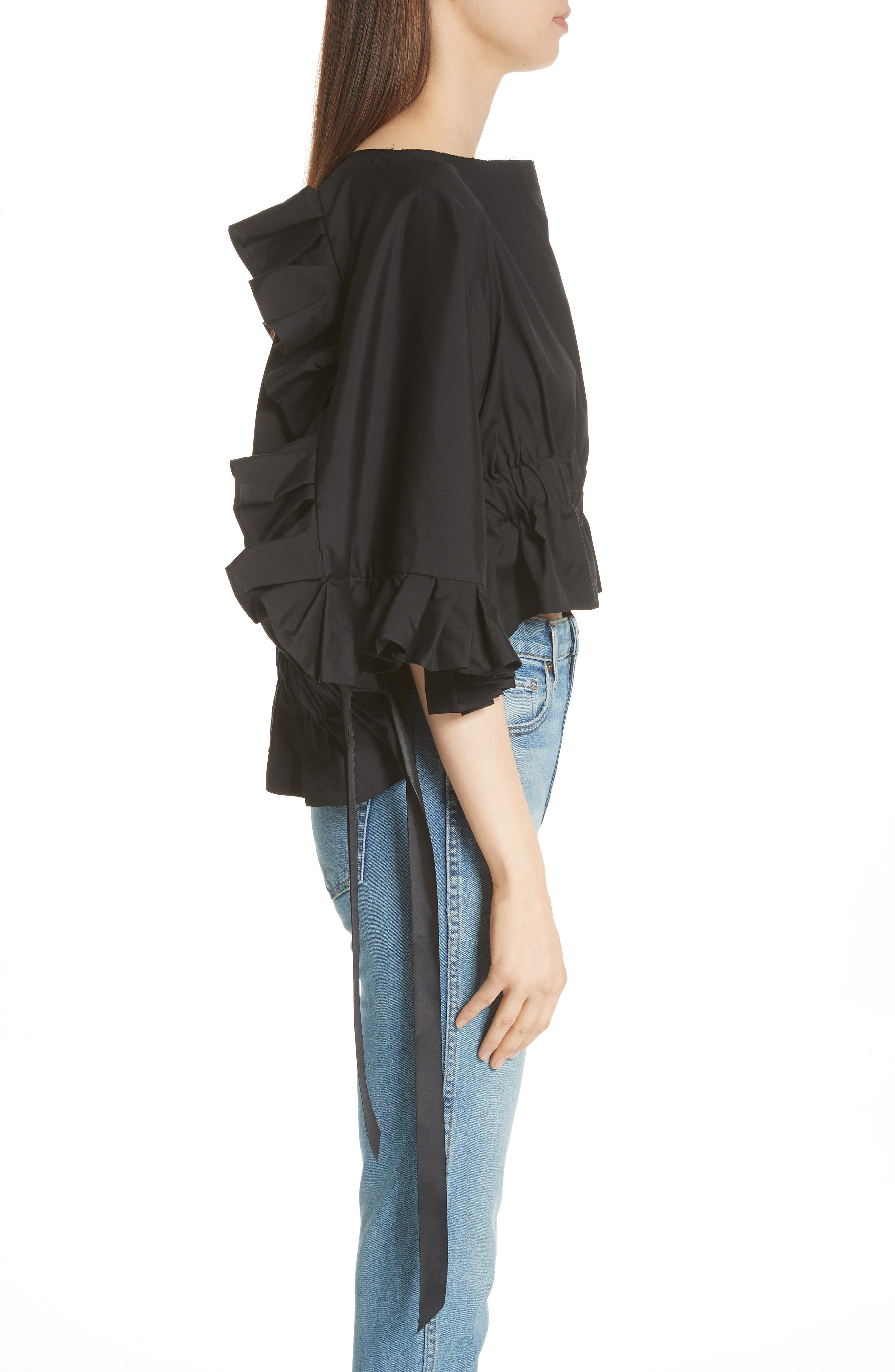 Crop Ruffle Top,                             Alternate thumbnail 5, color,