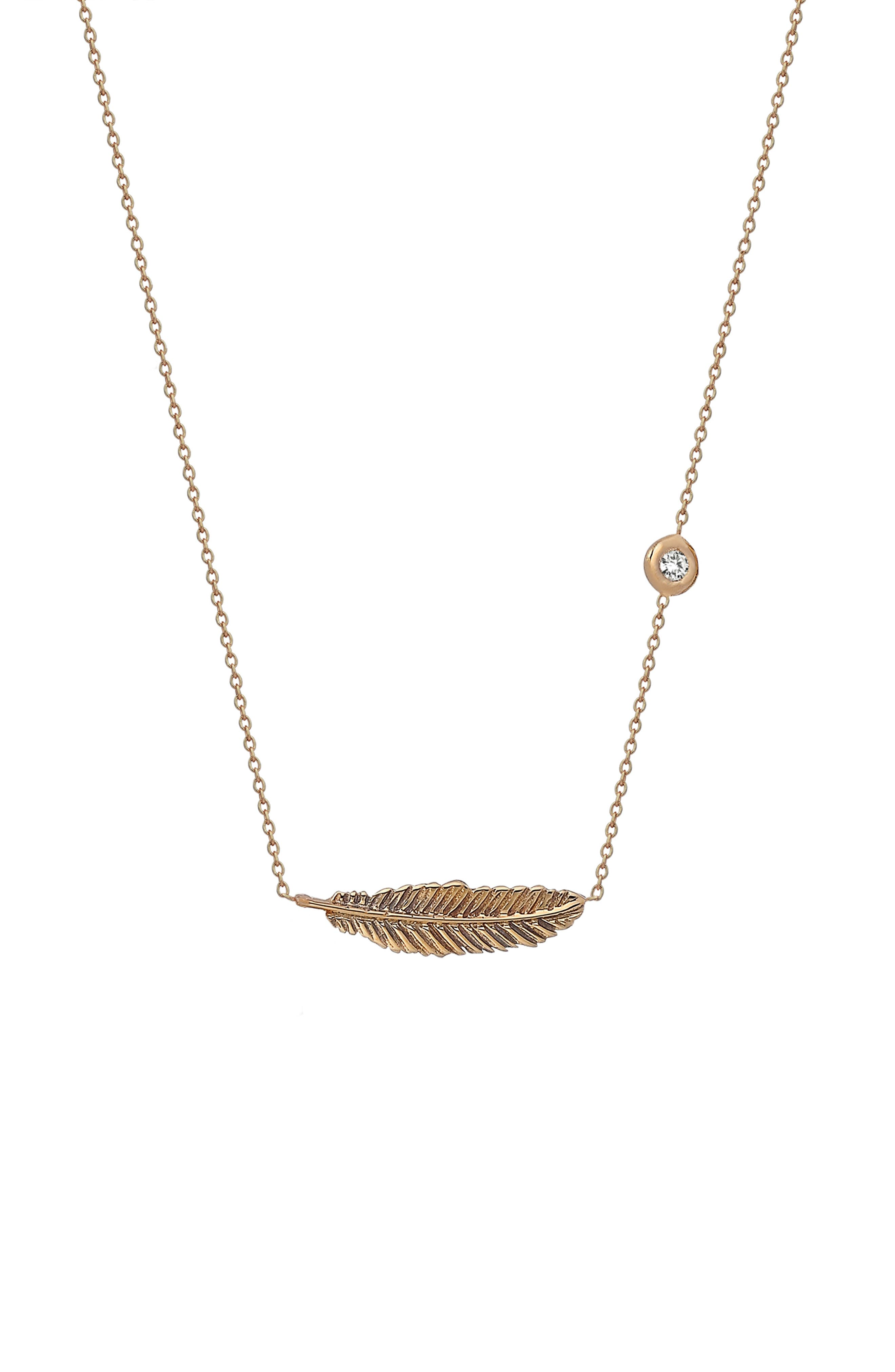 14K Rose Gold Mini Raven Feather Pendant Necklace in Rose Gold/ Diamond