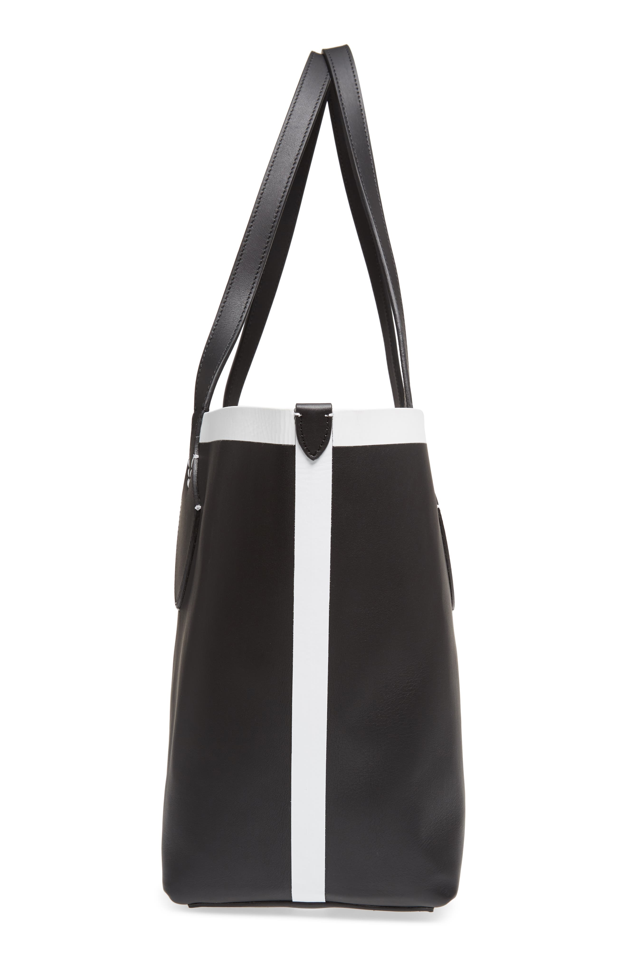 Medium Reversible Leather & Check Canvas Tote,                             Alternate thumbnail 6, color,                             BLACK/ WHITE