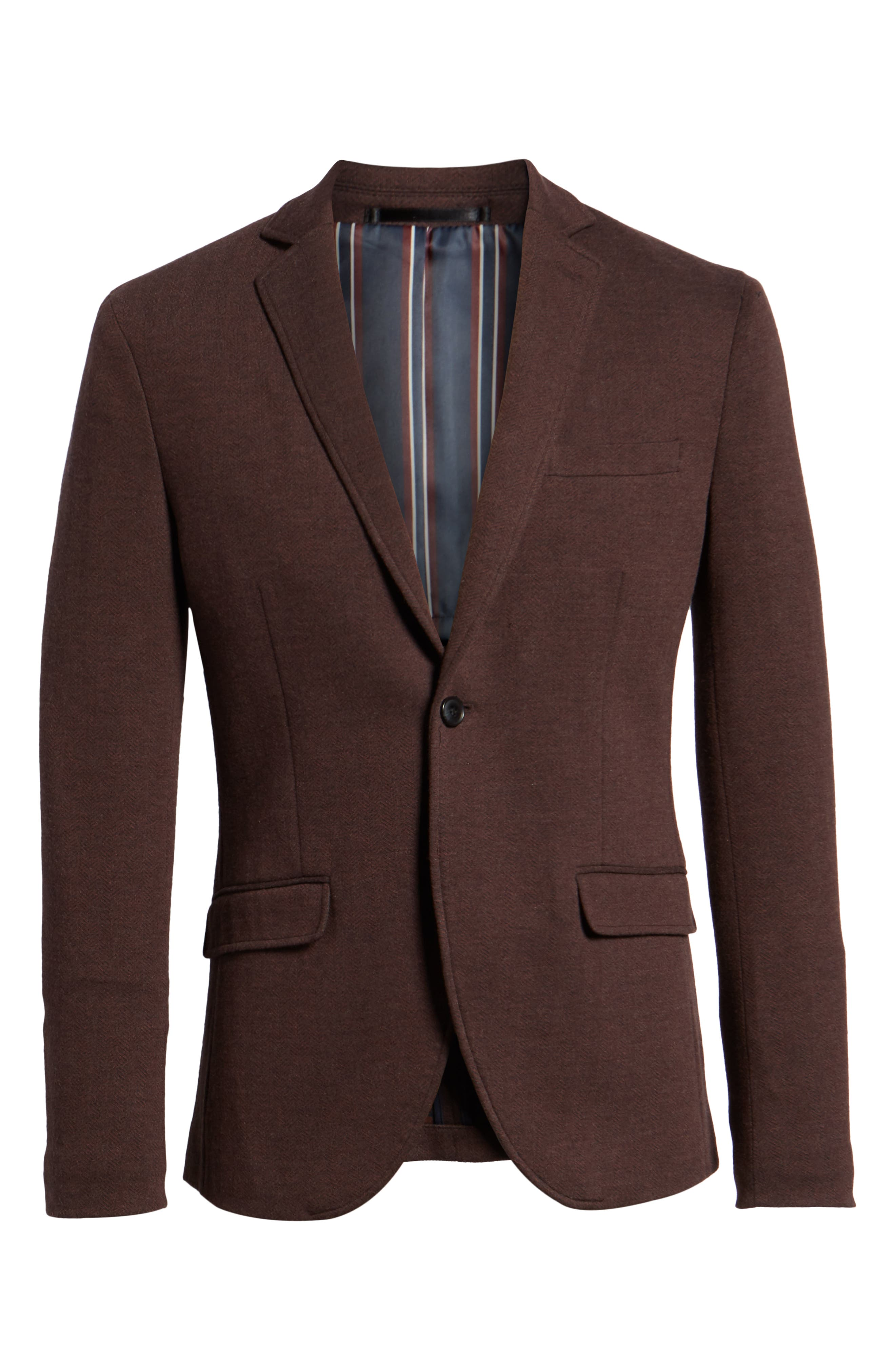 Herrold Slim Fit Herringbone Jersey Sport Coat,                             Alternate thumbnail 5, color,                             205