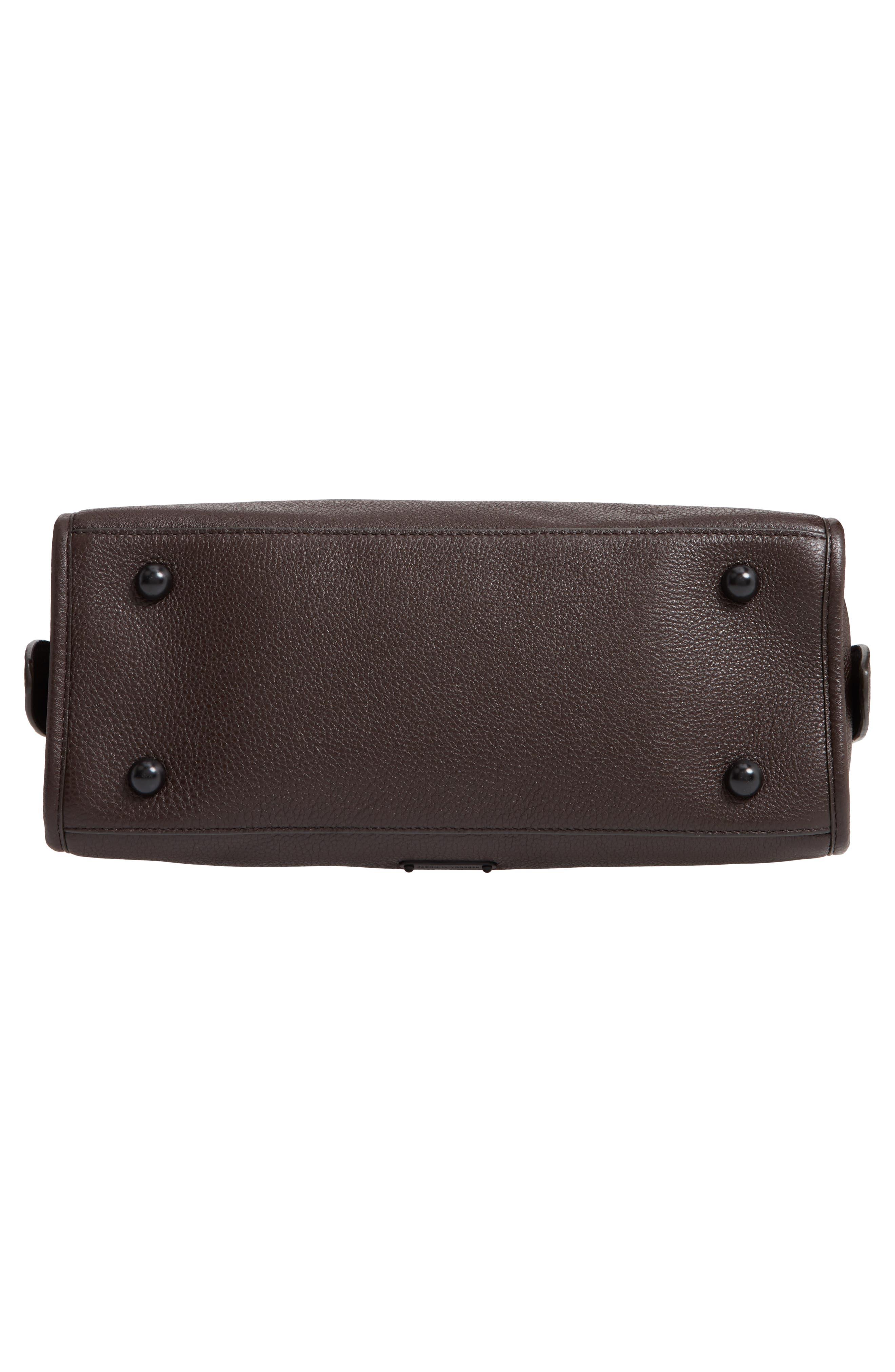 Bedford Zip Leather Satchel,                             Alternate thumbnail 6, color,                             GANACHE