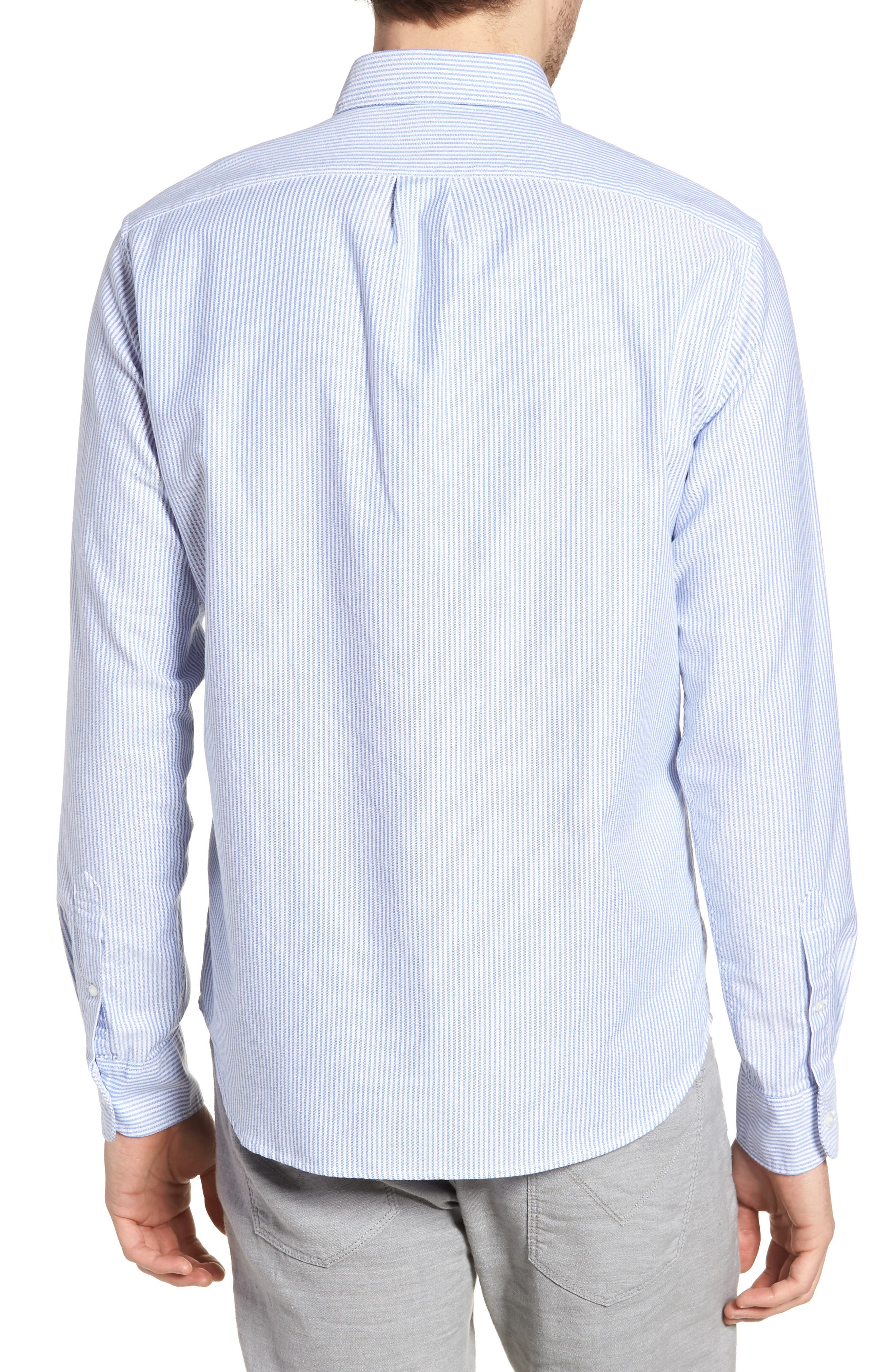 Slim Fit Stretch Stripe Pima Cotton Oxford Shirt,                             Alternate thumbnail 2, color,                             400