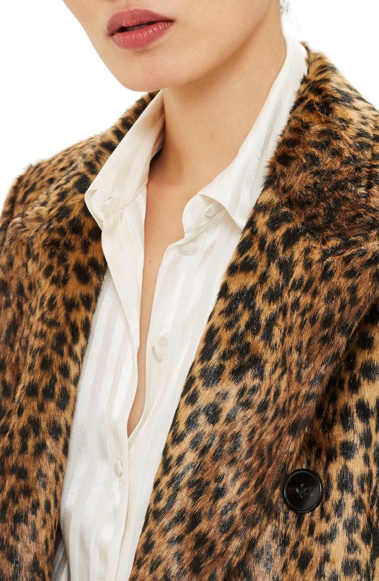 TOPSHOP,                             Toni Faux Fur Leopard Long Coat,                             Alternate thumbnail 4, color,                             200