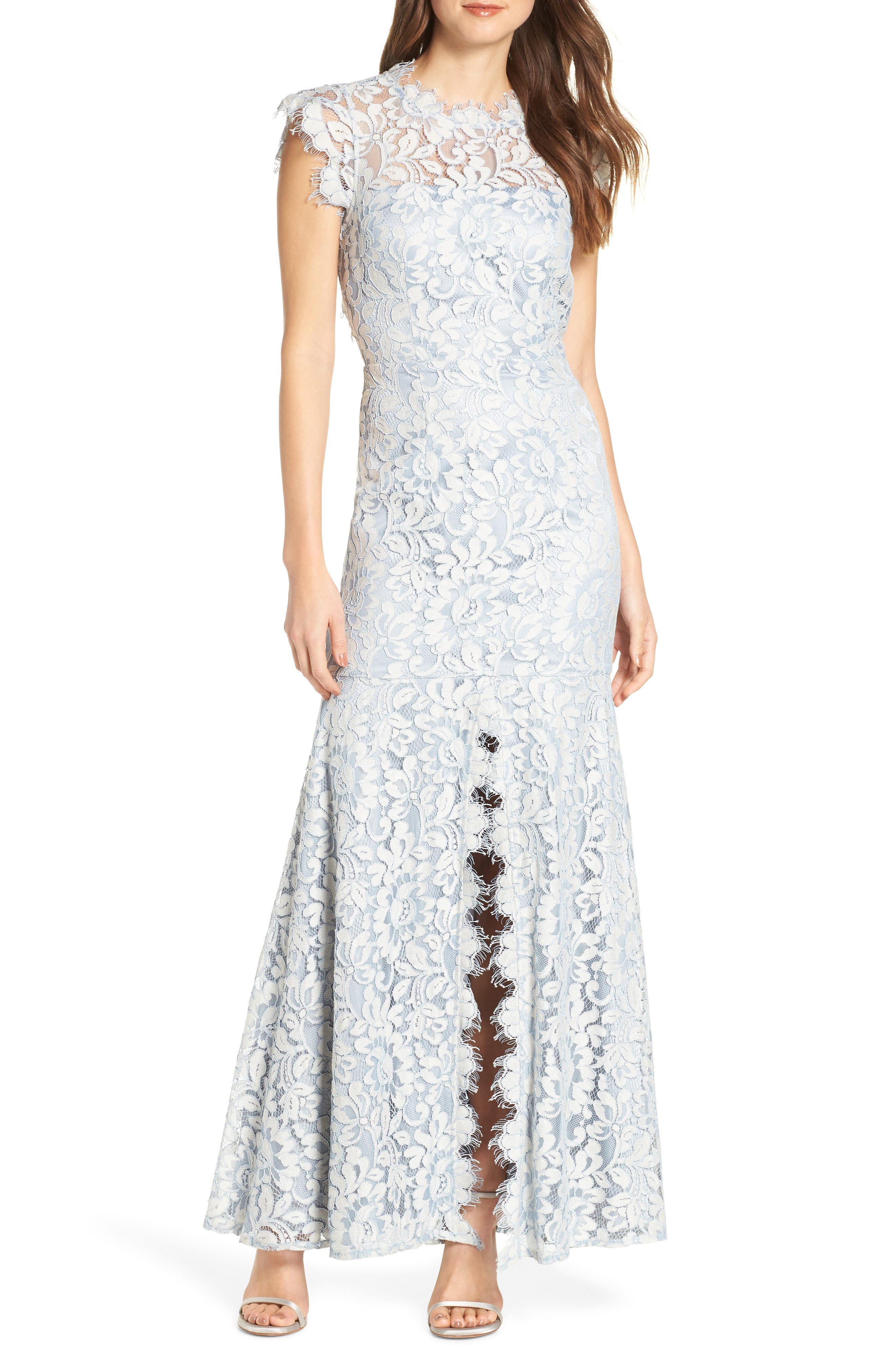 Eliza J Front Slit Trumpet Skirt Lace Evening Dress, Blue