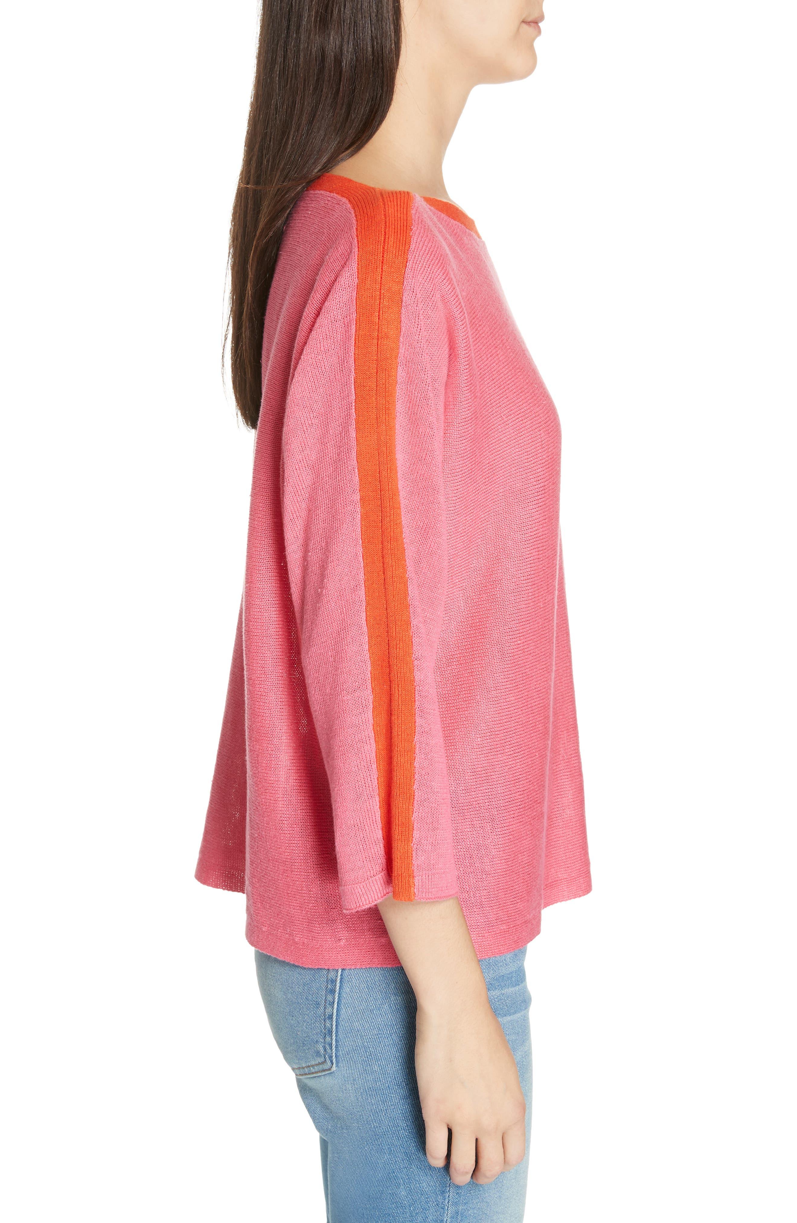 Stripe Detail Linen Sweater,                             Alternate thumbnail 3, color,                             CHERRY LANE