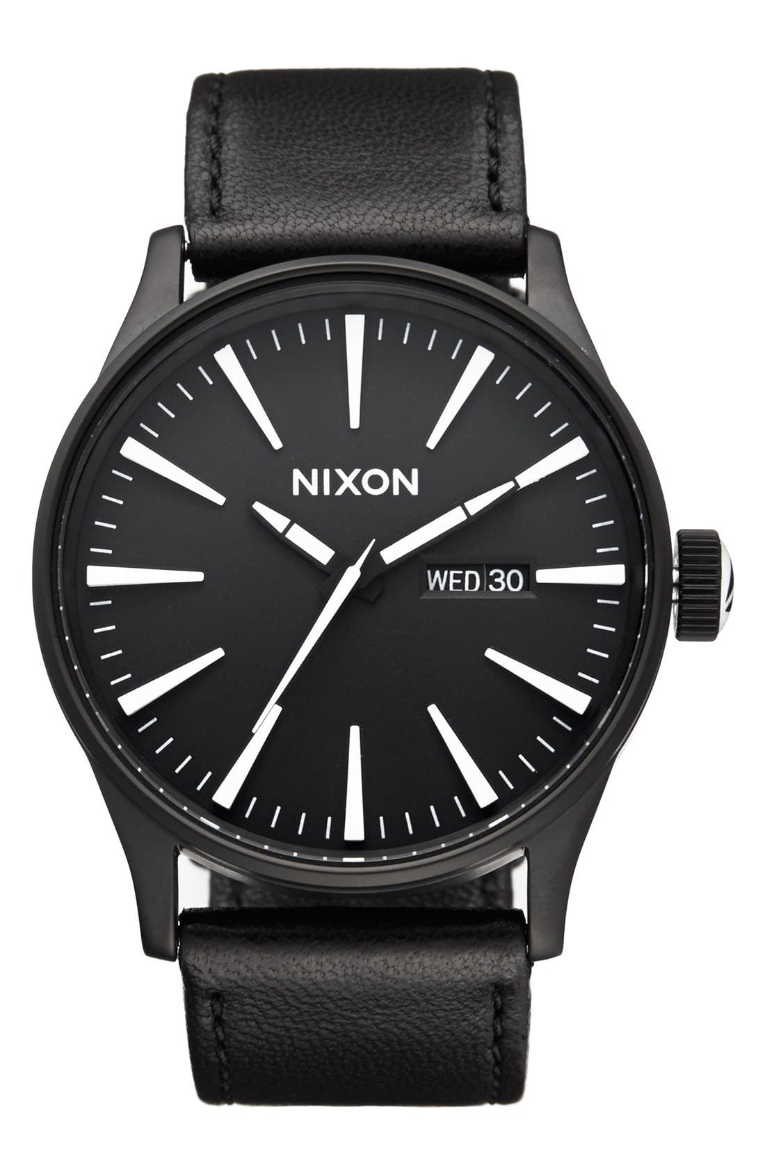The Sentry Leather Strap Watch, 42mm,                         Main,                         color, BLACK/ WHITE