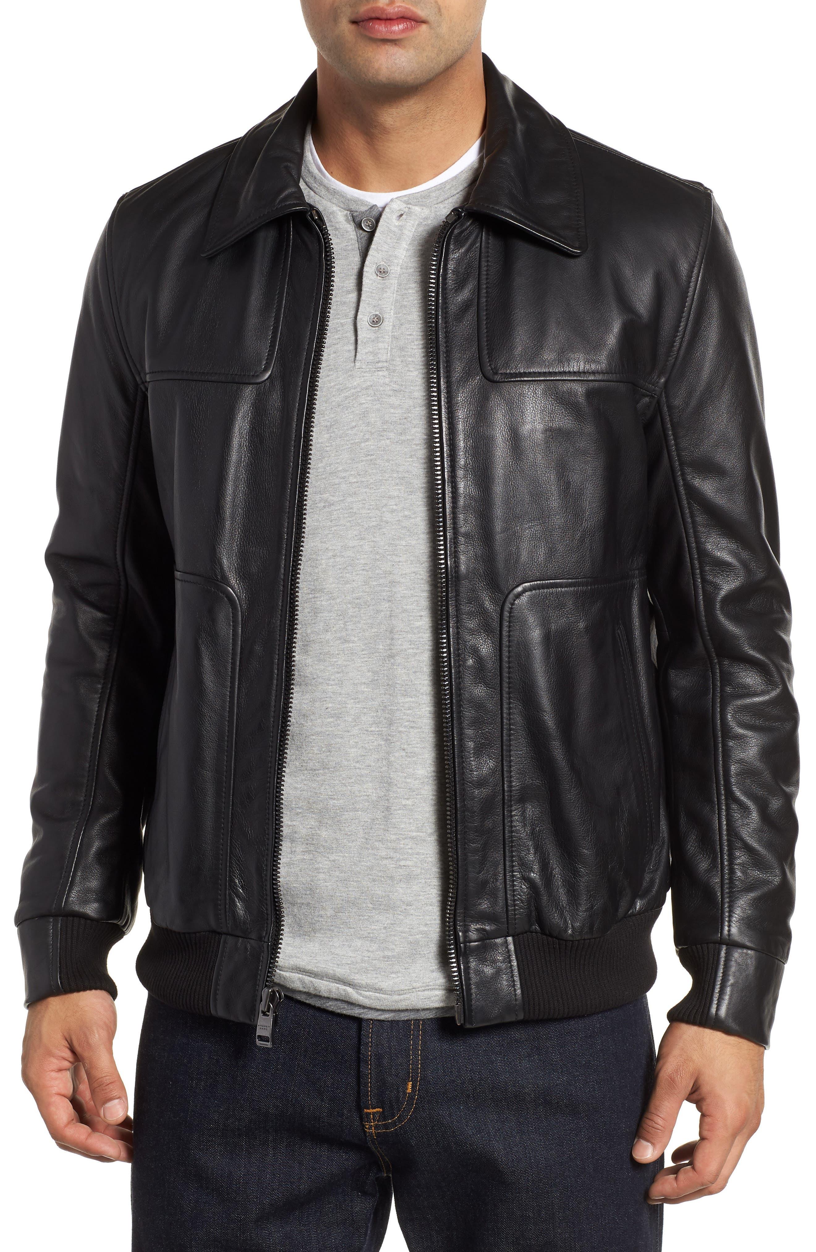 ANDREW MARC,                             Vaughn Shirt Collar Leather Bomber Jacket,                             Main thumbnail 1, color,                             BLACK