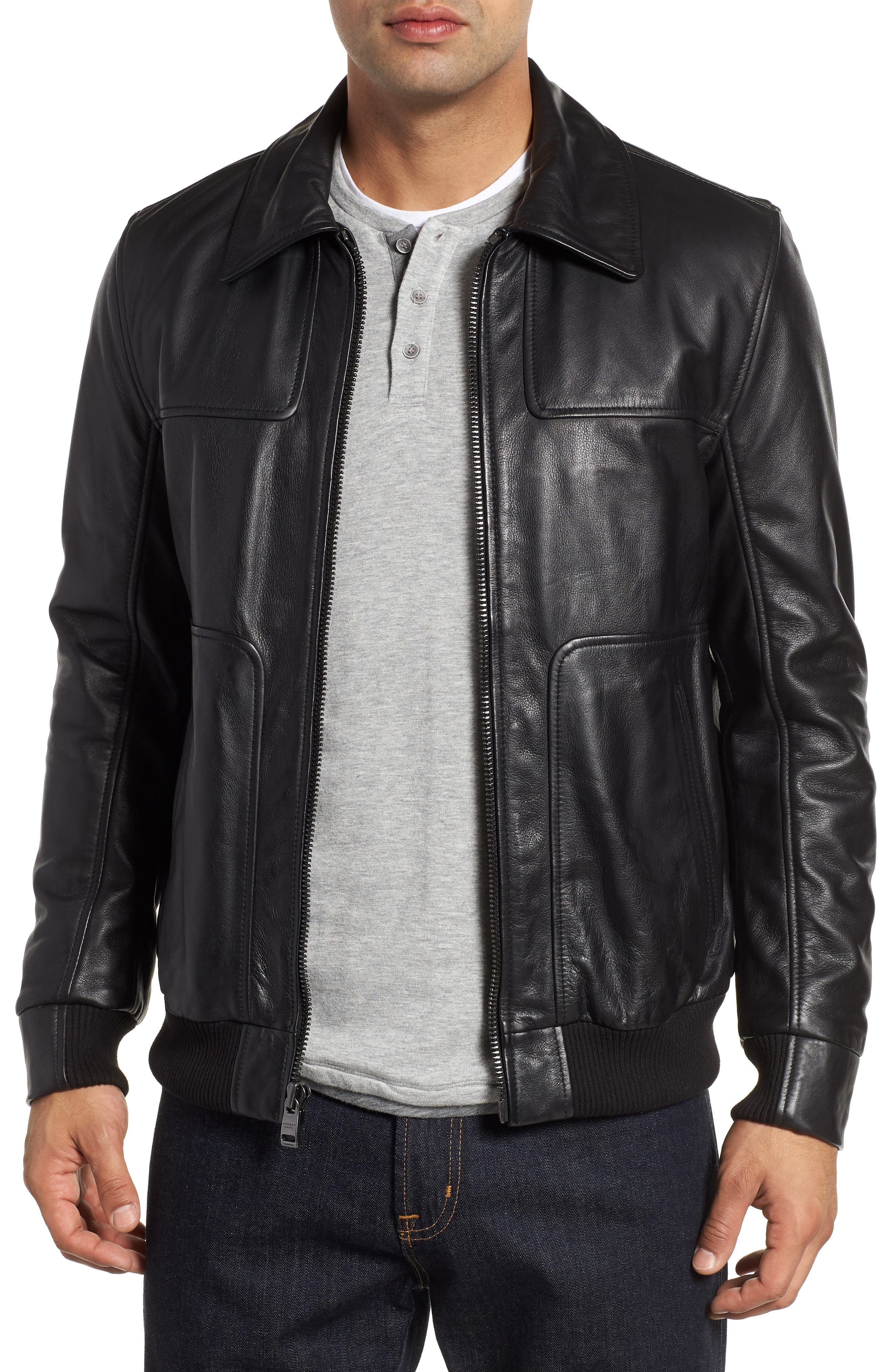 ANDREW MARC Vaughn Shirt Collar Leather Bomber Jacket, Main, color, BLACK