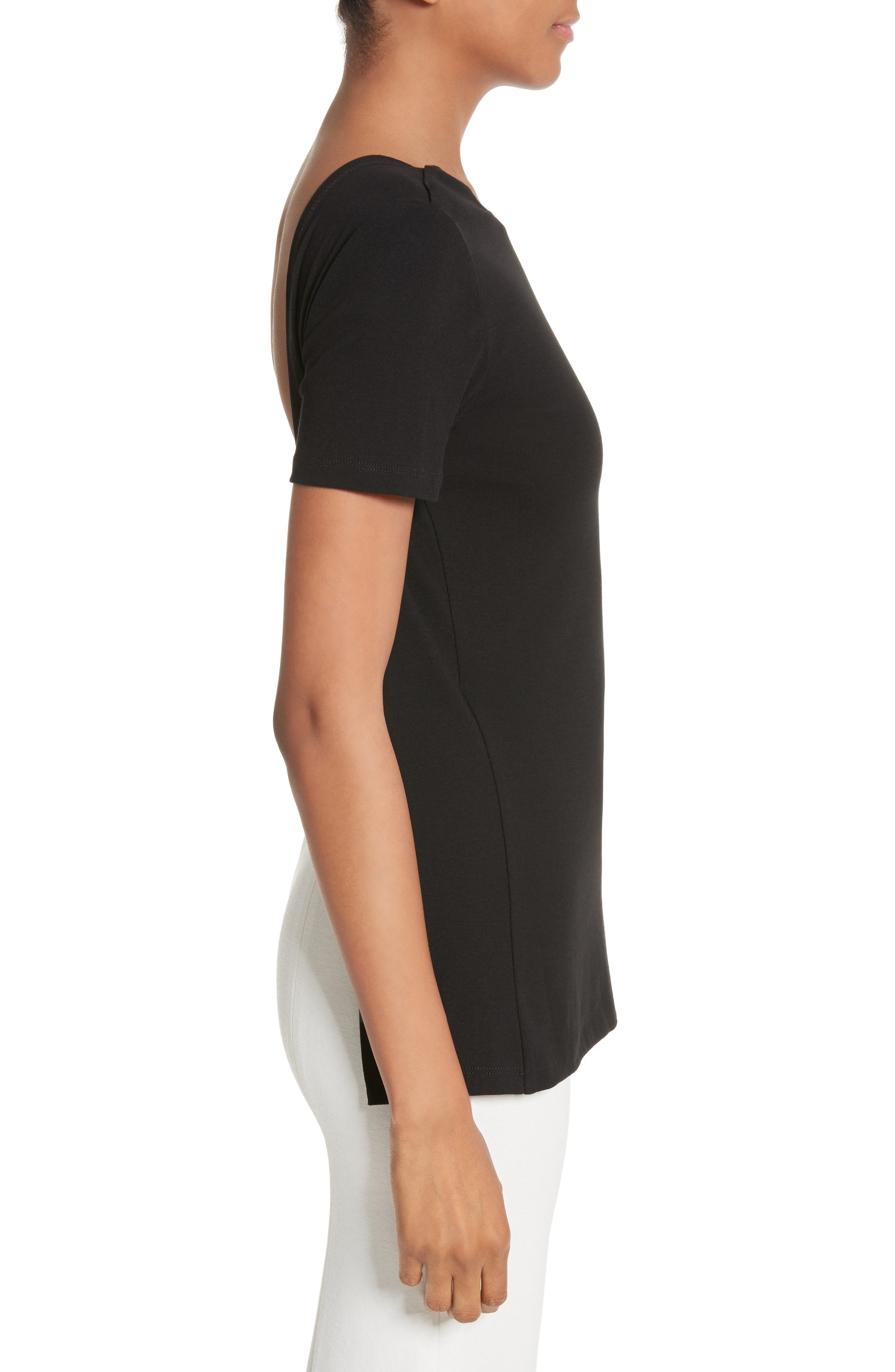 Cotton Jersey Open Back Tee,                             Alternate thumbnail 3, color,                             001
