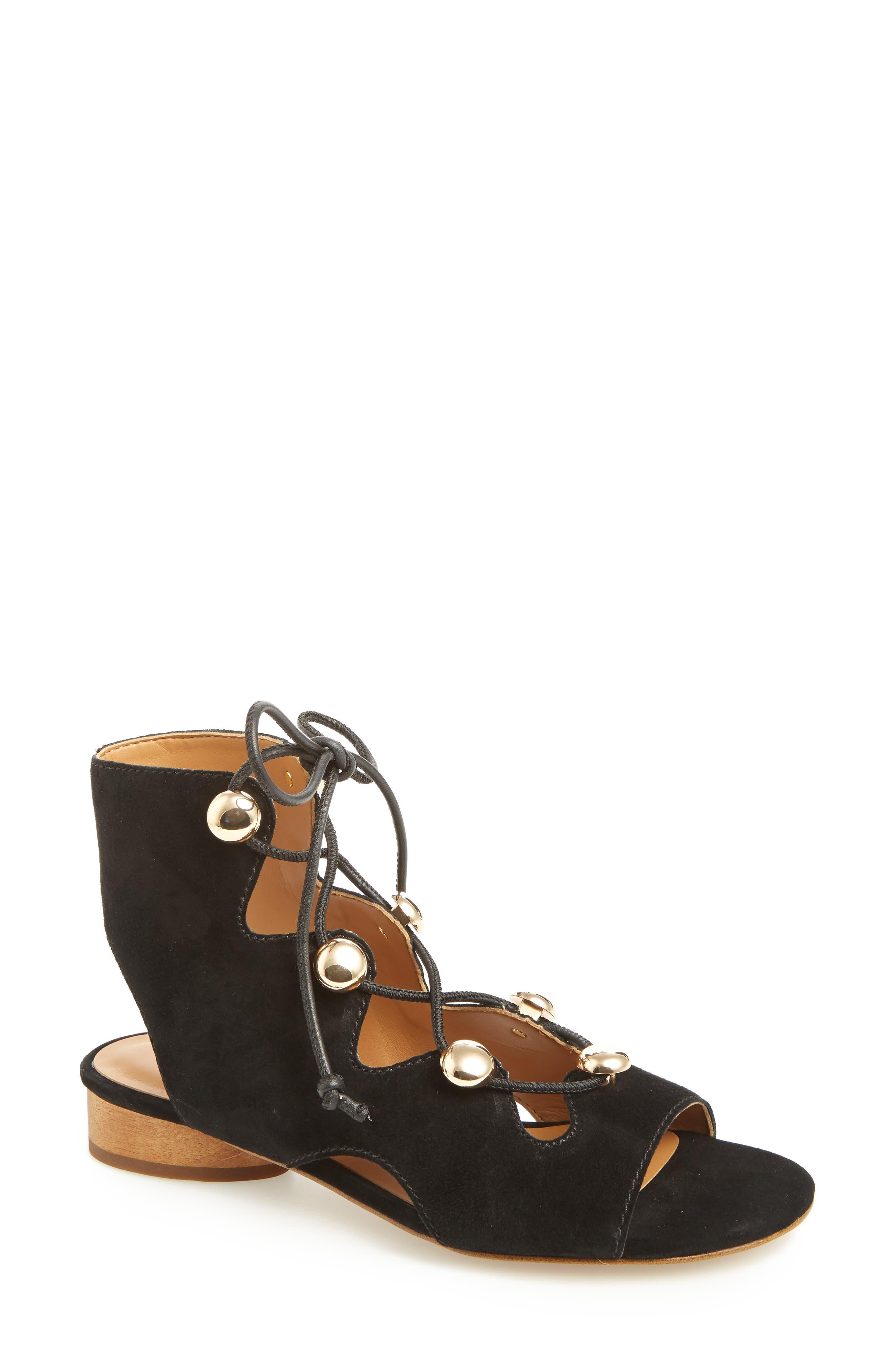 Kyla Ghillie Sandal,                         Main,                         color, BLACK SUEDE