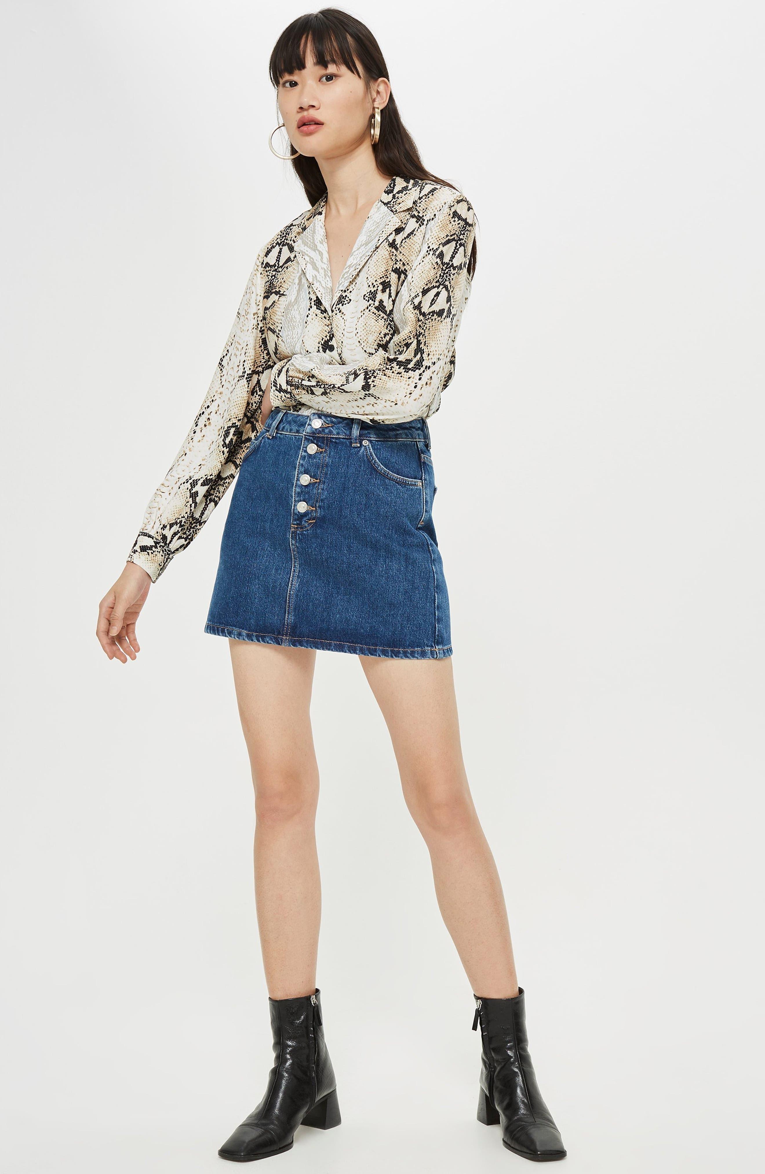Button Fly Denim Skirt,                             Alternate thumbnail 4, color,                             MID DENIM