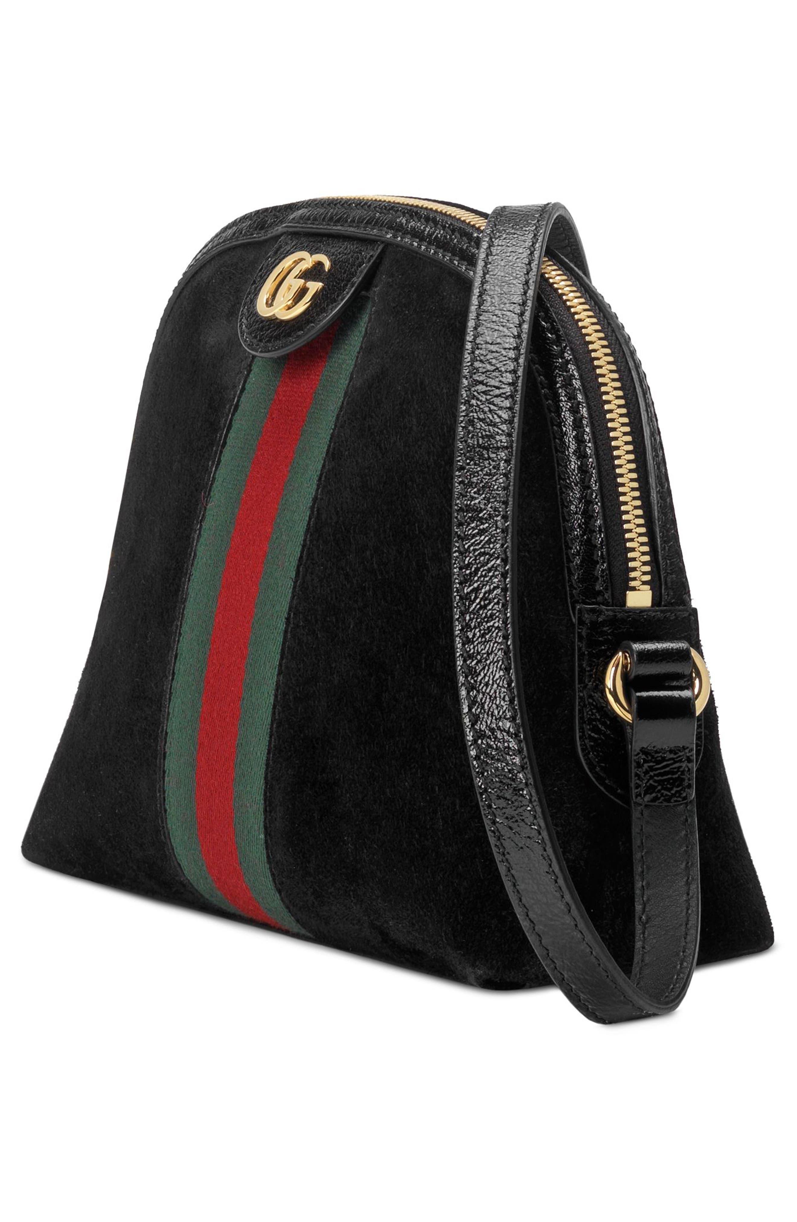 Small Suede Shoulder Bag,                             Alternate thumbnail 4, color,                             NERO/ NERO/ VERT RED VERT