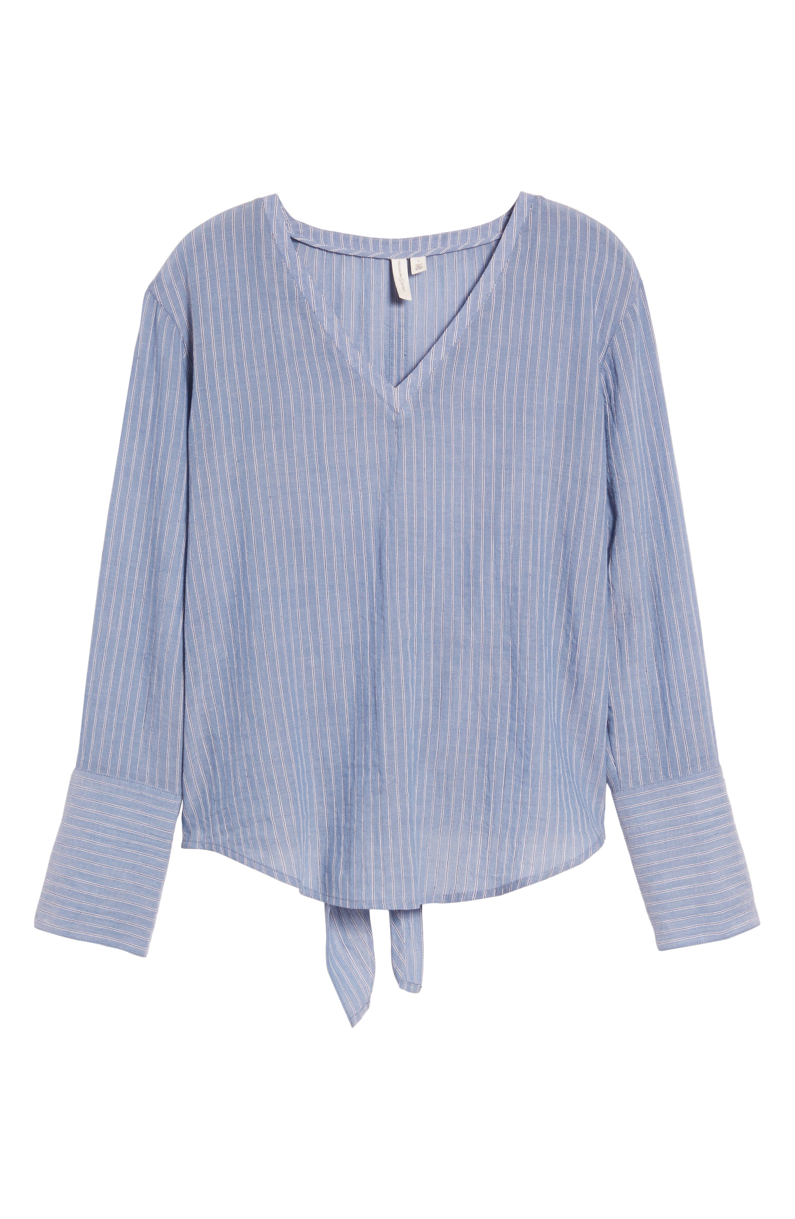 Tie Back Shirt,                             Alternate thumbnail 6, color,                             BLUE AIRY STRIPE