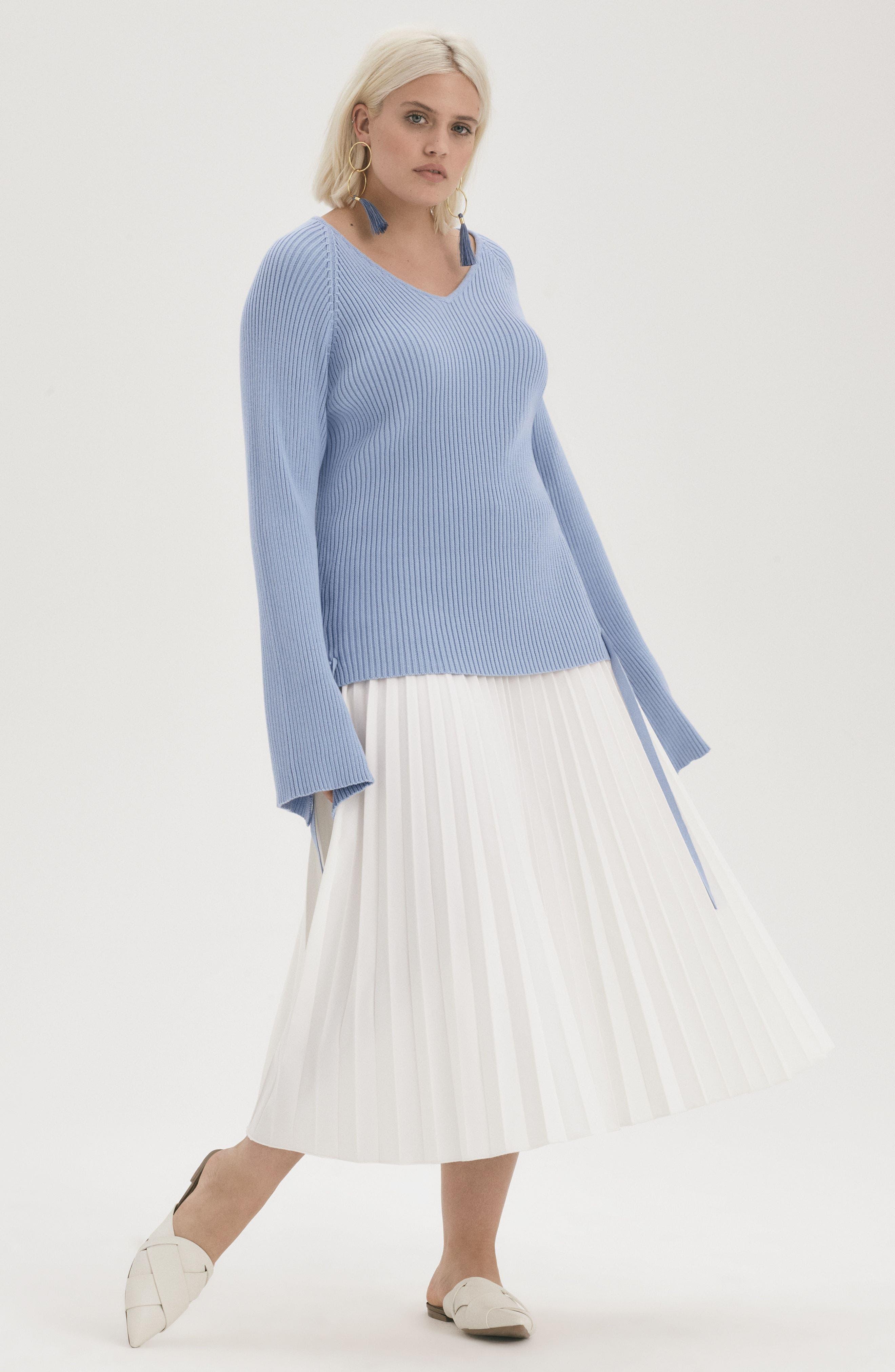 Pleated Long Skirt,                             Alternate thumbnail 7, color,                             100