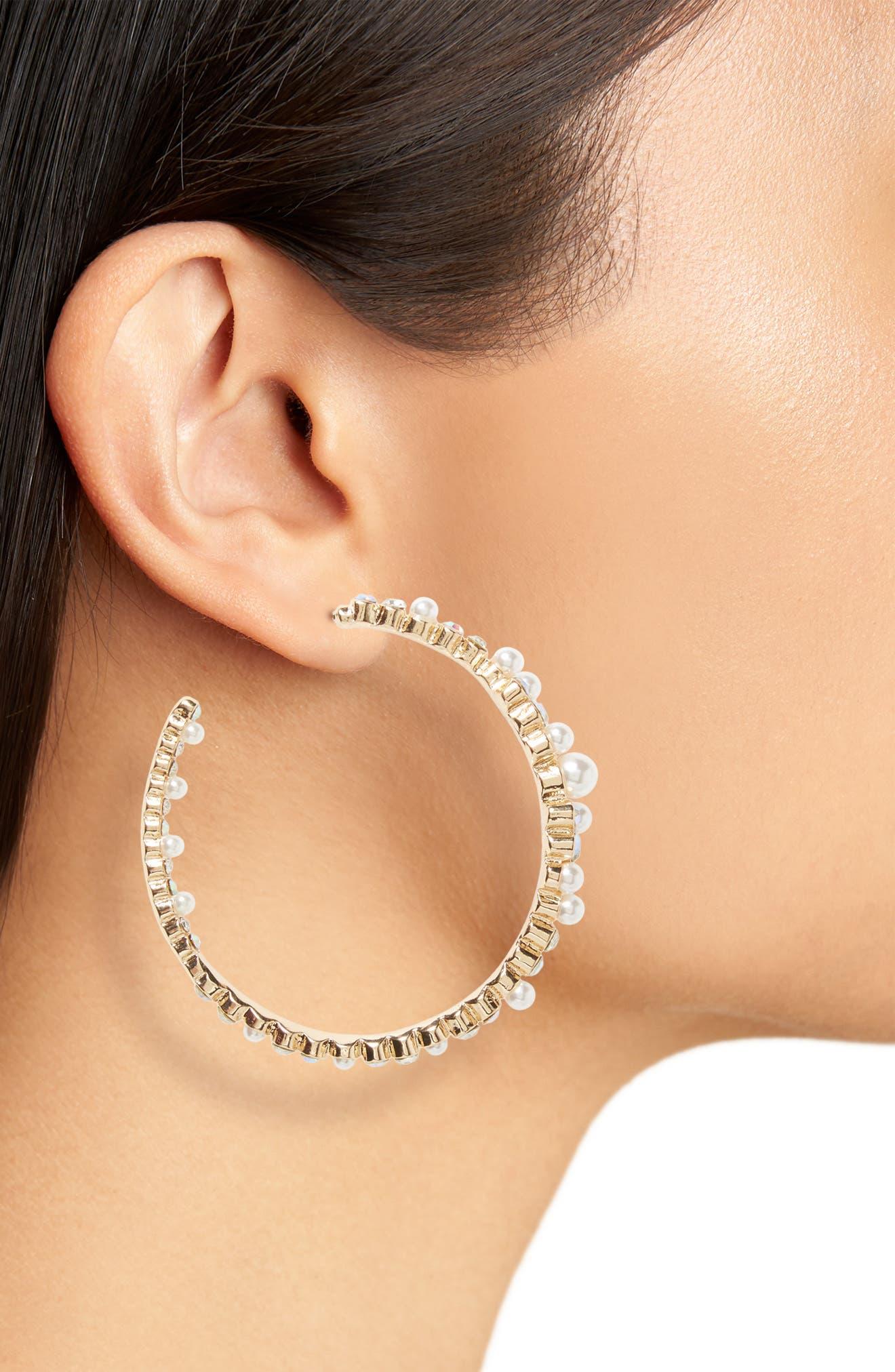 Imitation Pearl & Crystal Hoop Earrings,                             Alternate thumbnail 2, color,