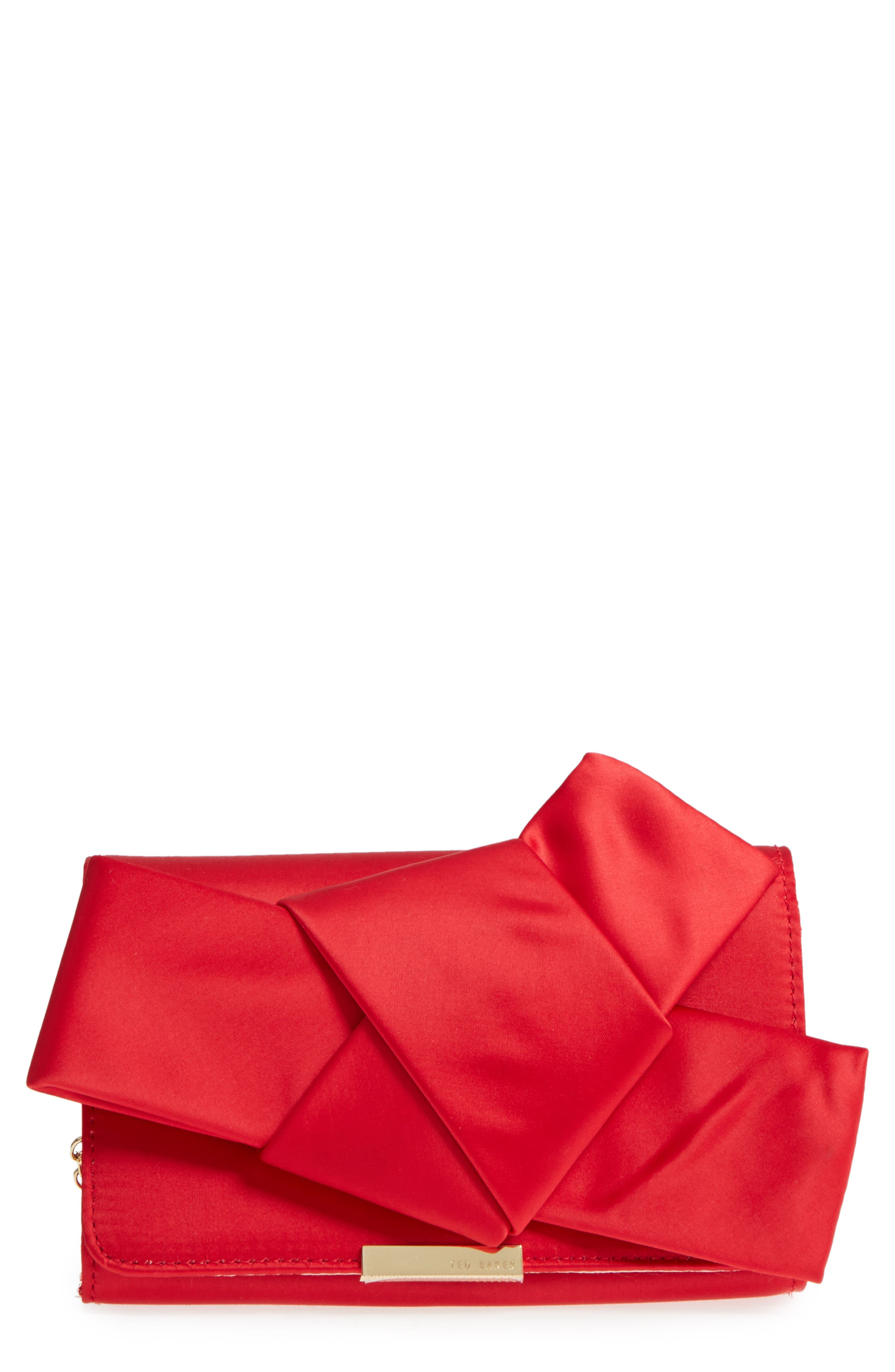 Fefee Satin Knotted Bow Clutch,                             Main thumbnail 1, color,                             BRIGHT RED
