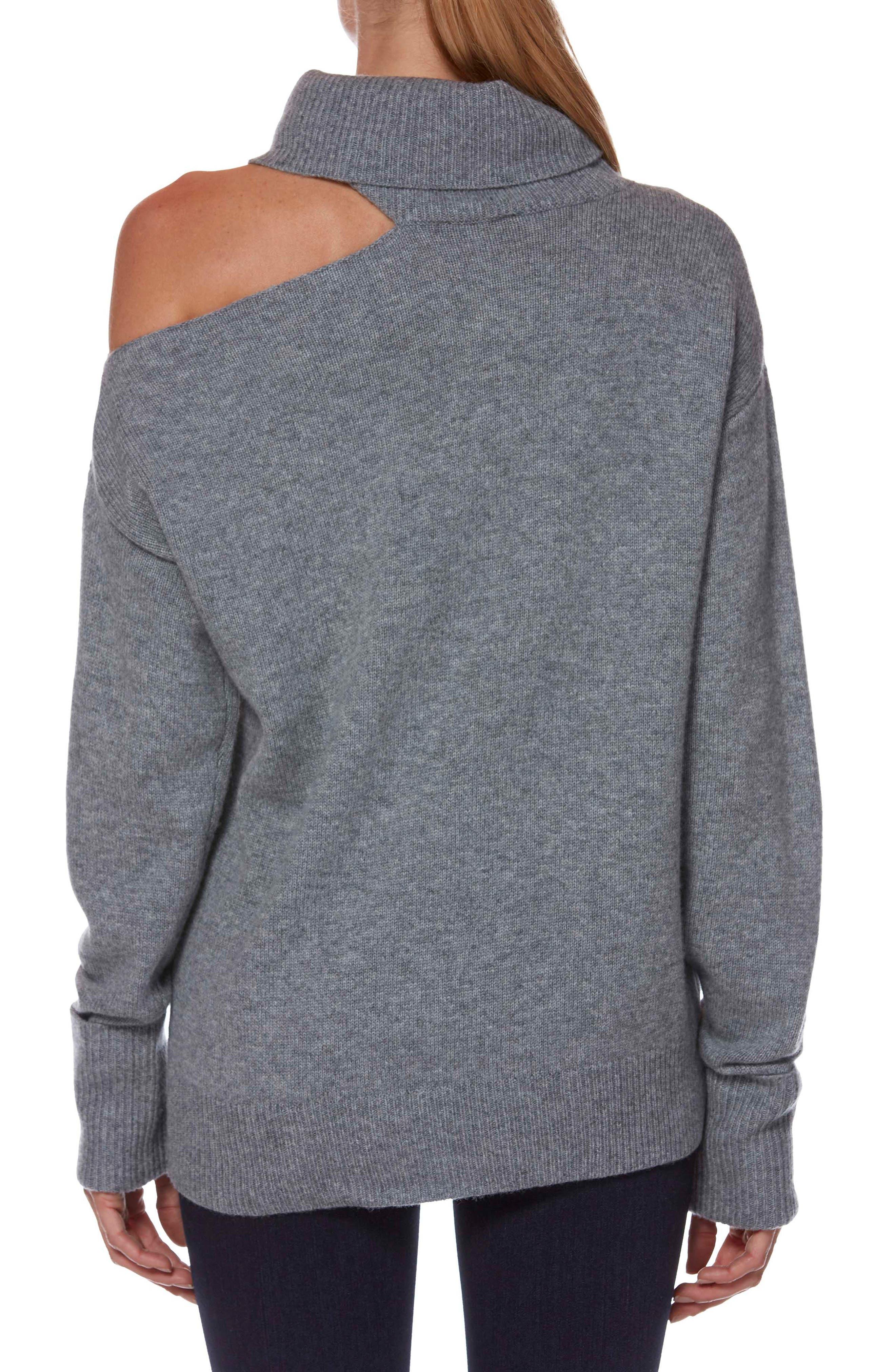 Raundi Cutout Shoulder Sweater,                             Alternate thumbnail 2, color,                             HEATHER GREY