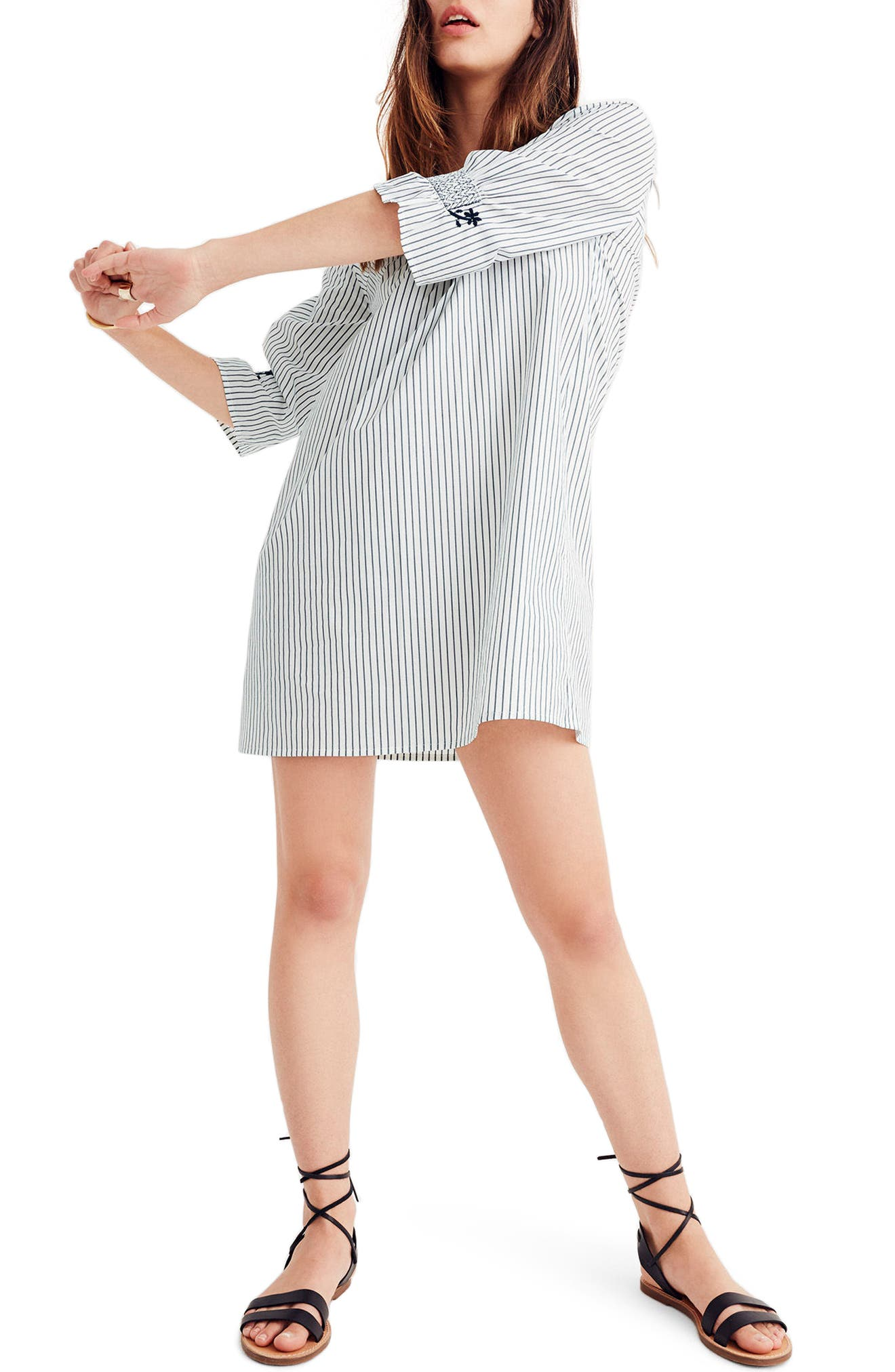 Stripe Embroidered Breeze Dress,                             Alternate thumbnail 2, color,                             050