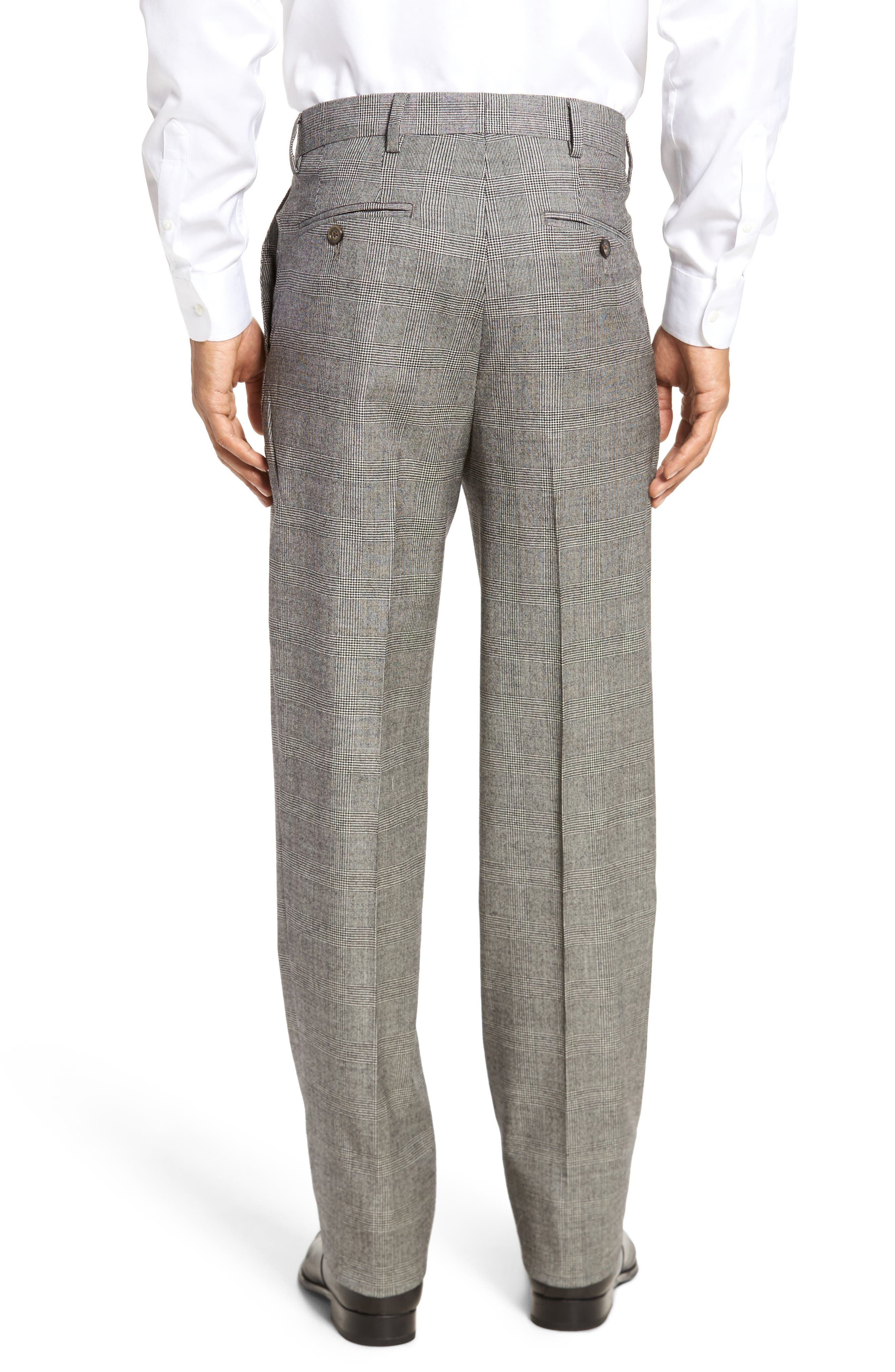 Flat Front Stretch Plaid Wool Trousers,                             Alternate thumbnail 3, color,                             BLACK/ WHITE