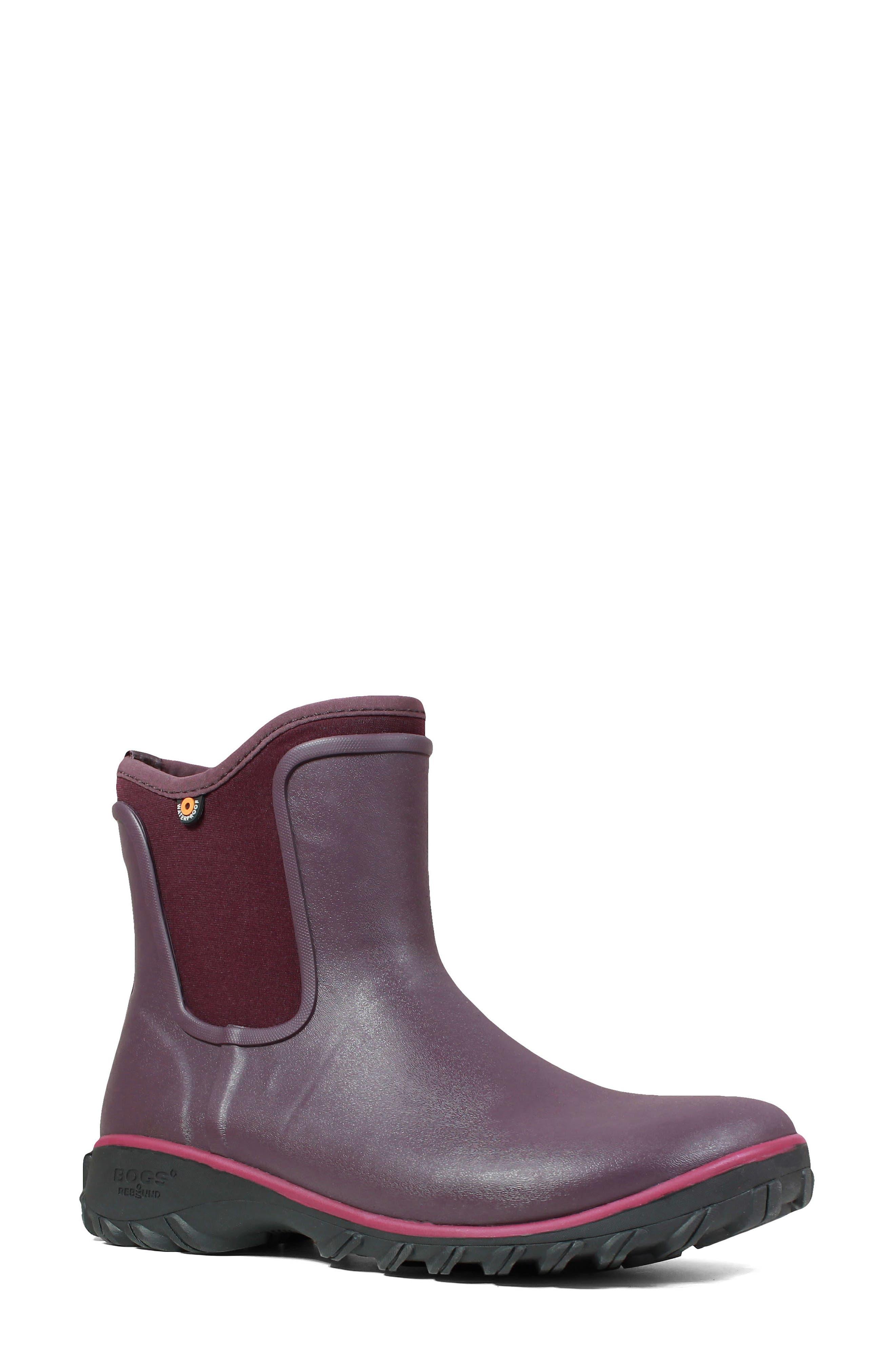 Bogs Sauvie Waterproof Chelsea Boot, Burgundy
