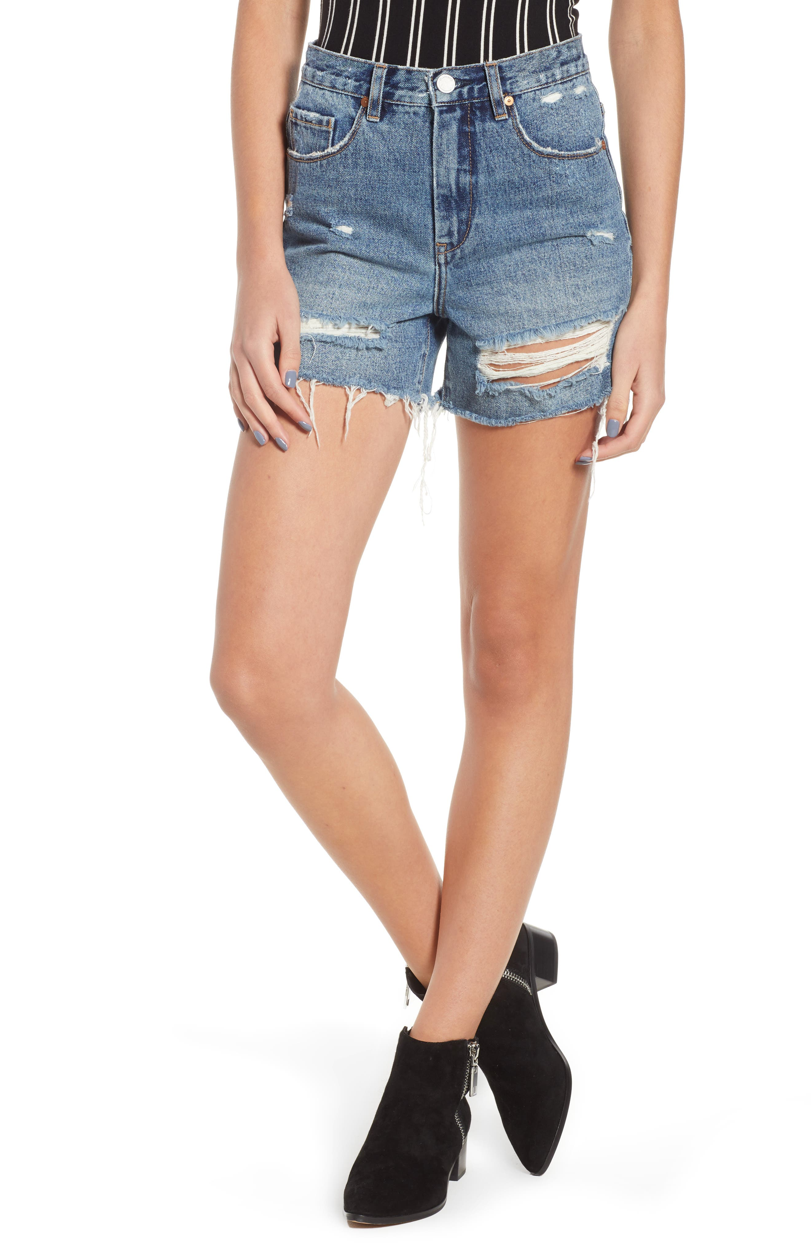 Ripped High Waist Denim Mom Shorts,                         Main,                         color, CYBER HOARDER