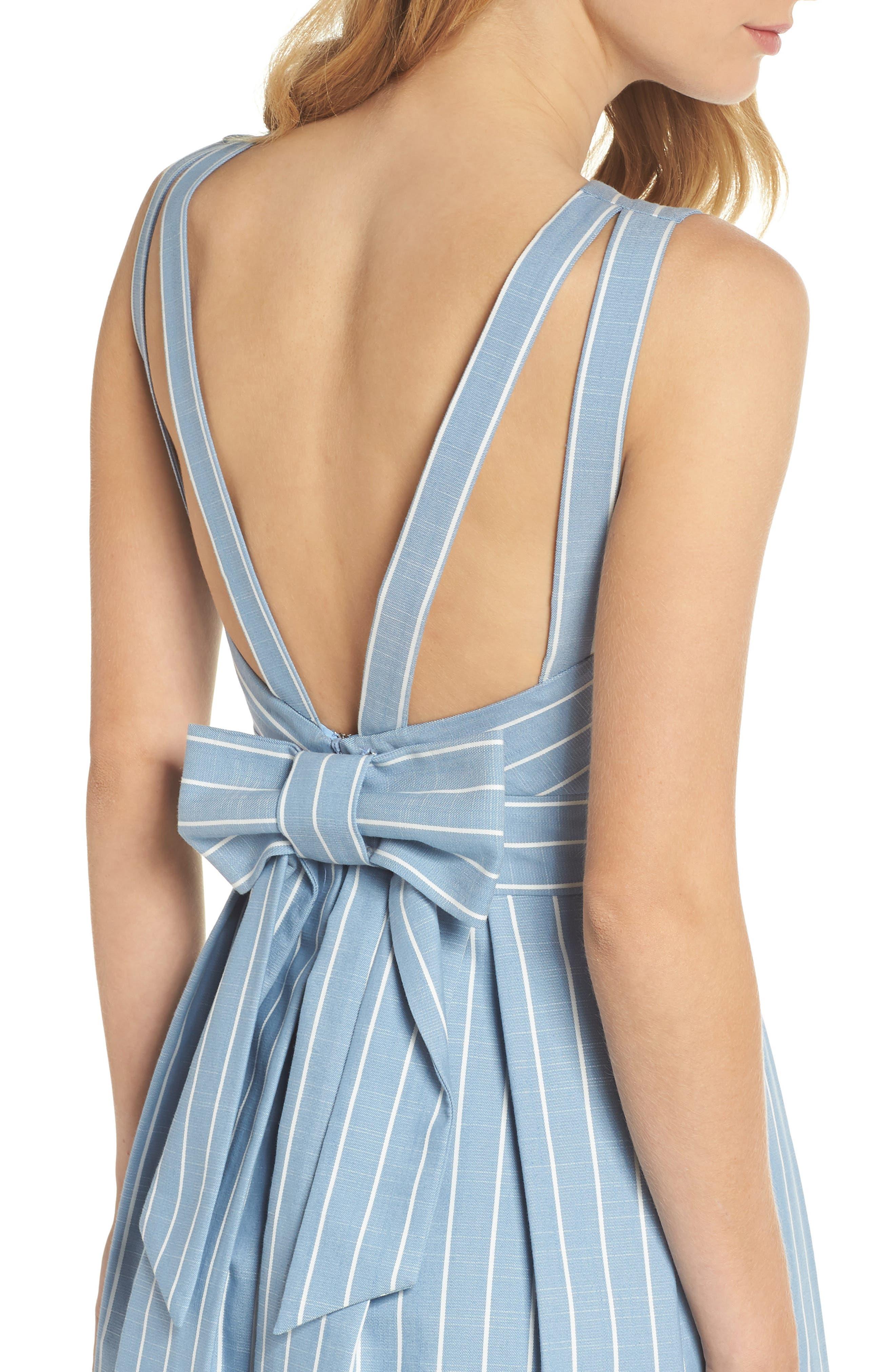 Samantha Slub Stripe Fit & Flare Dress,                             Alternate thumbnail 6, color,                             460