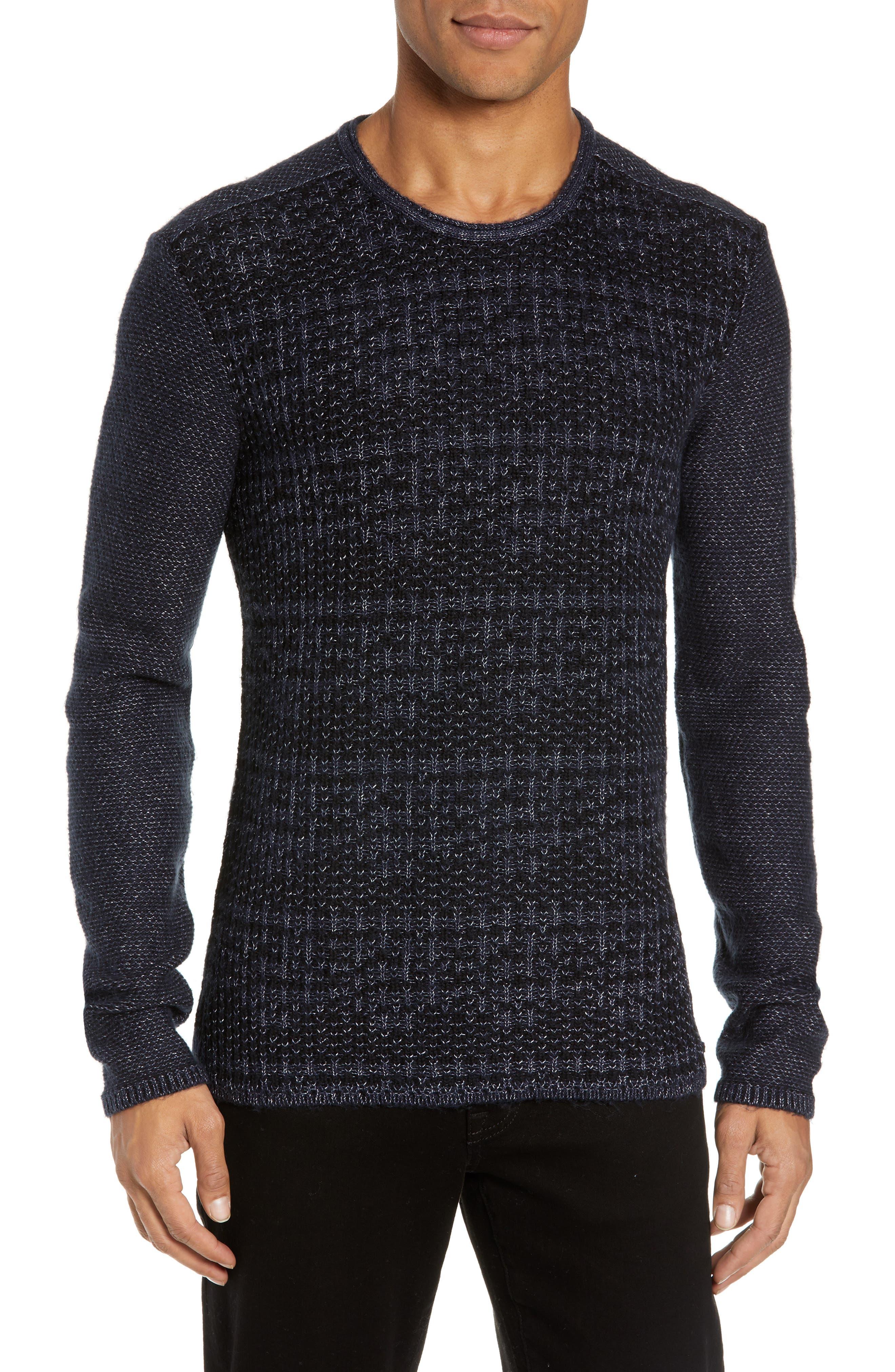 Mix Stitch Regular Fit Cotton Blend Sweater,                             Main thumbnail 1, color,                             INK BLUE