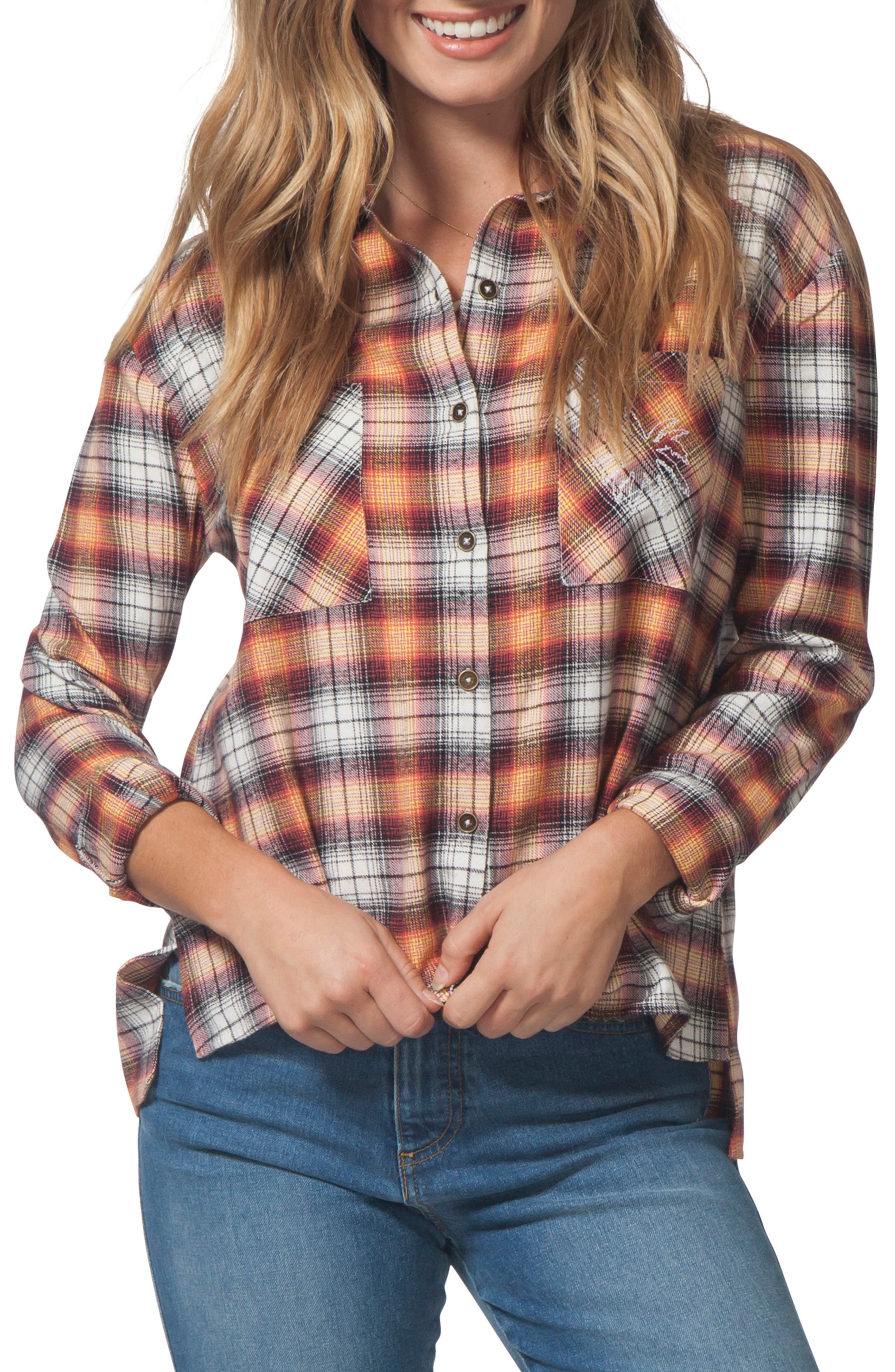 One Step Plaid Flannel Top,                         Main,                         color, VANILLA