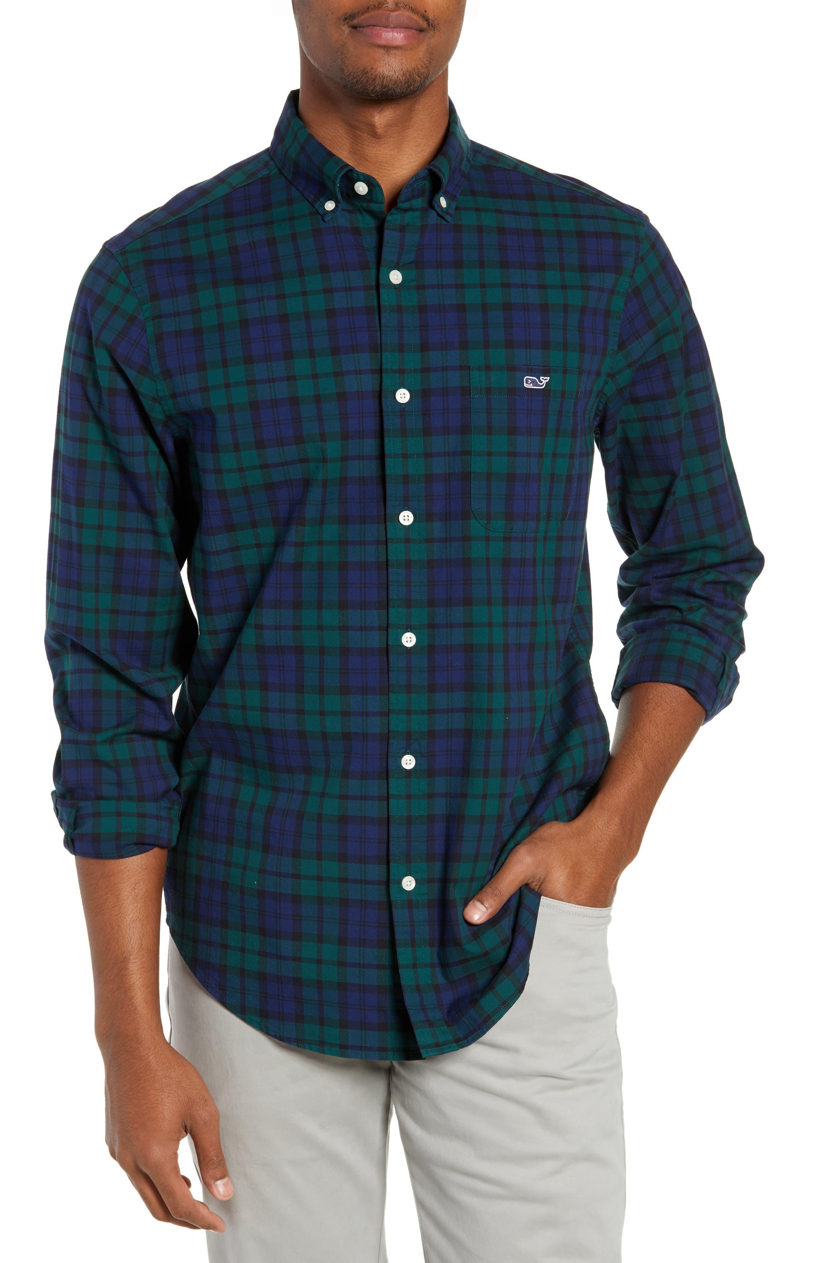VINEYARD VINES Palmer Hill Tucker Plaid Classic Fit Button-Down Shirt in Charleston Green
