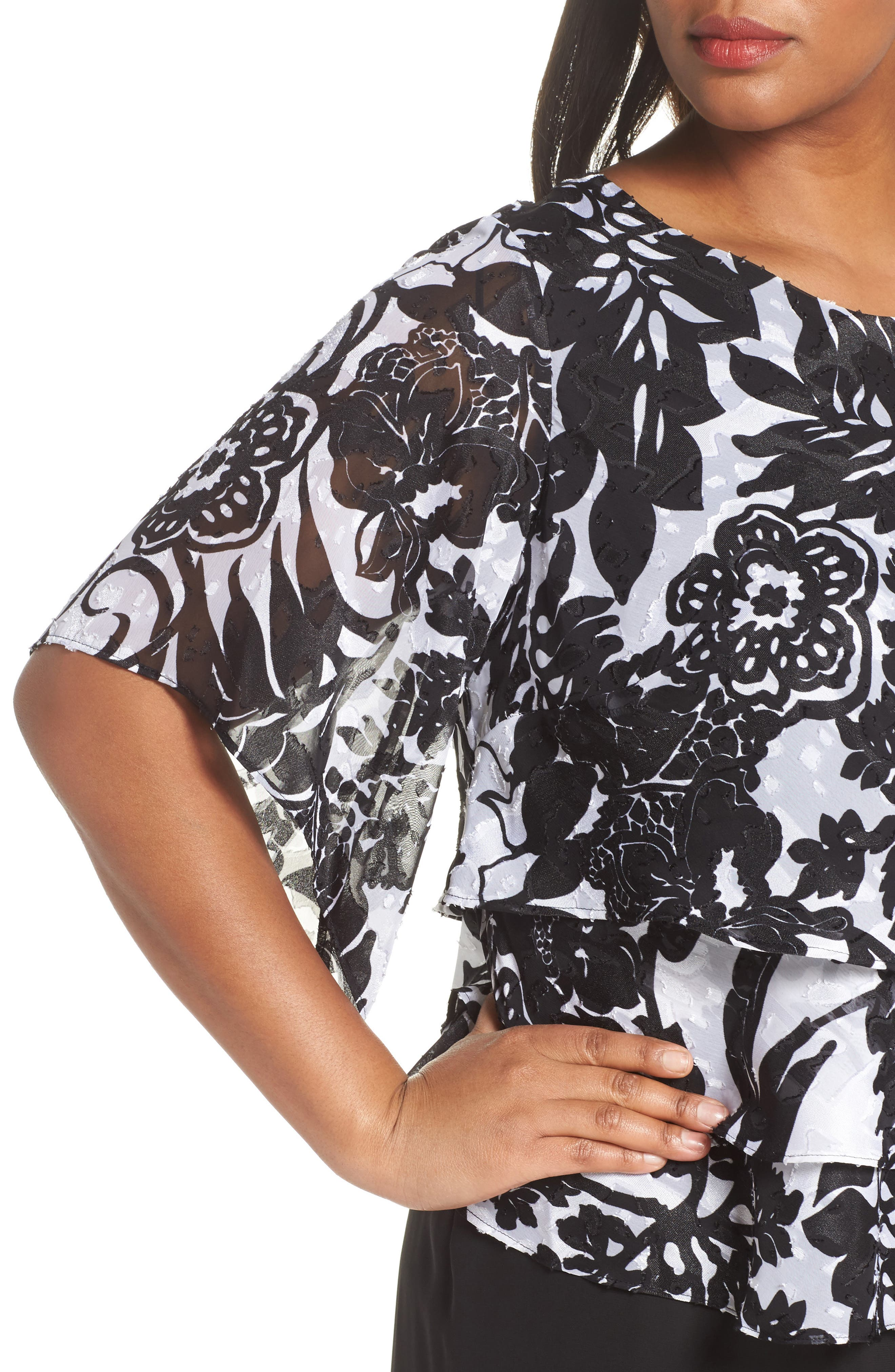 Print Tiered Blouse,                             Alternate thumbnail 9, color,