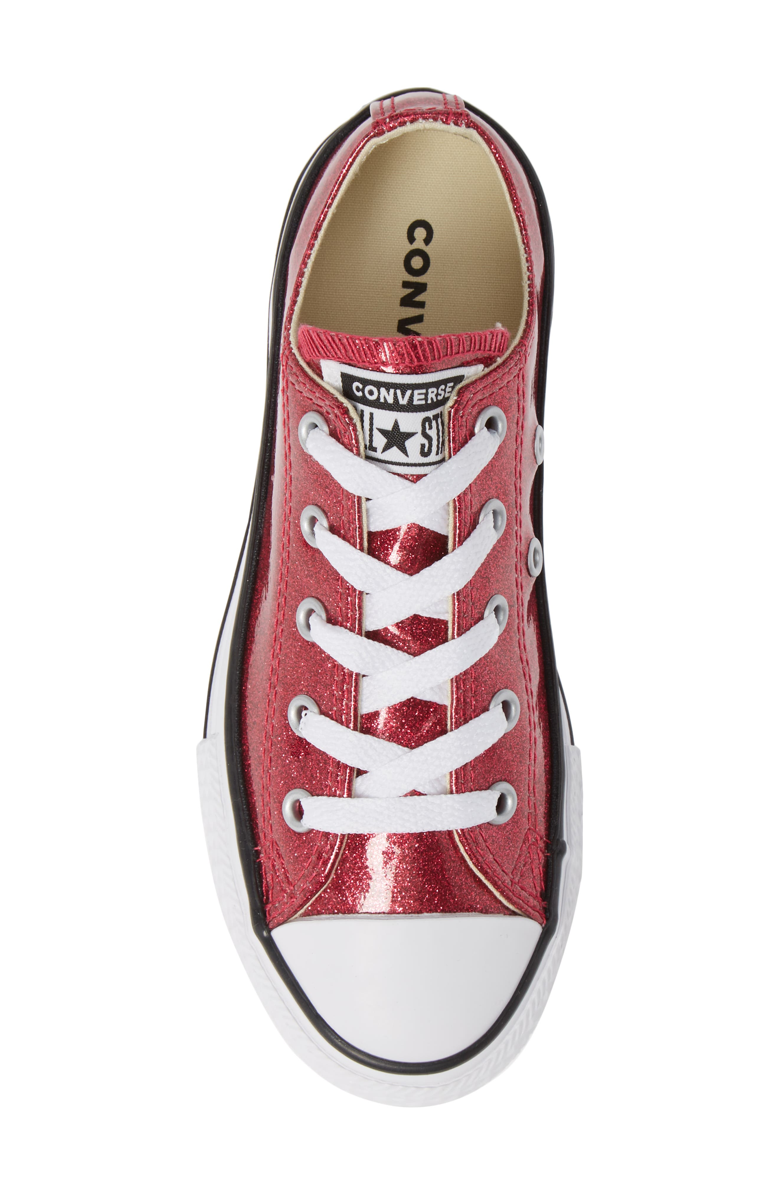 CONVERSE,                             All Star<sup>®</sup> Seasonal Glitter OX Low Top Sneaker,                             Alternate thumbnail 5, color,                             PINK POP