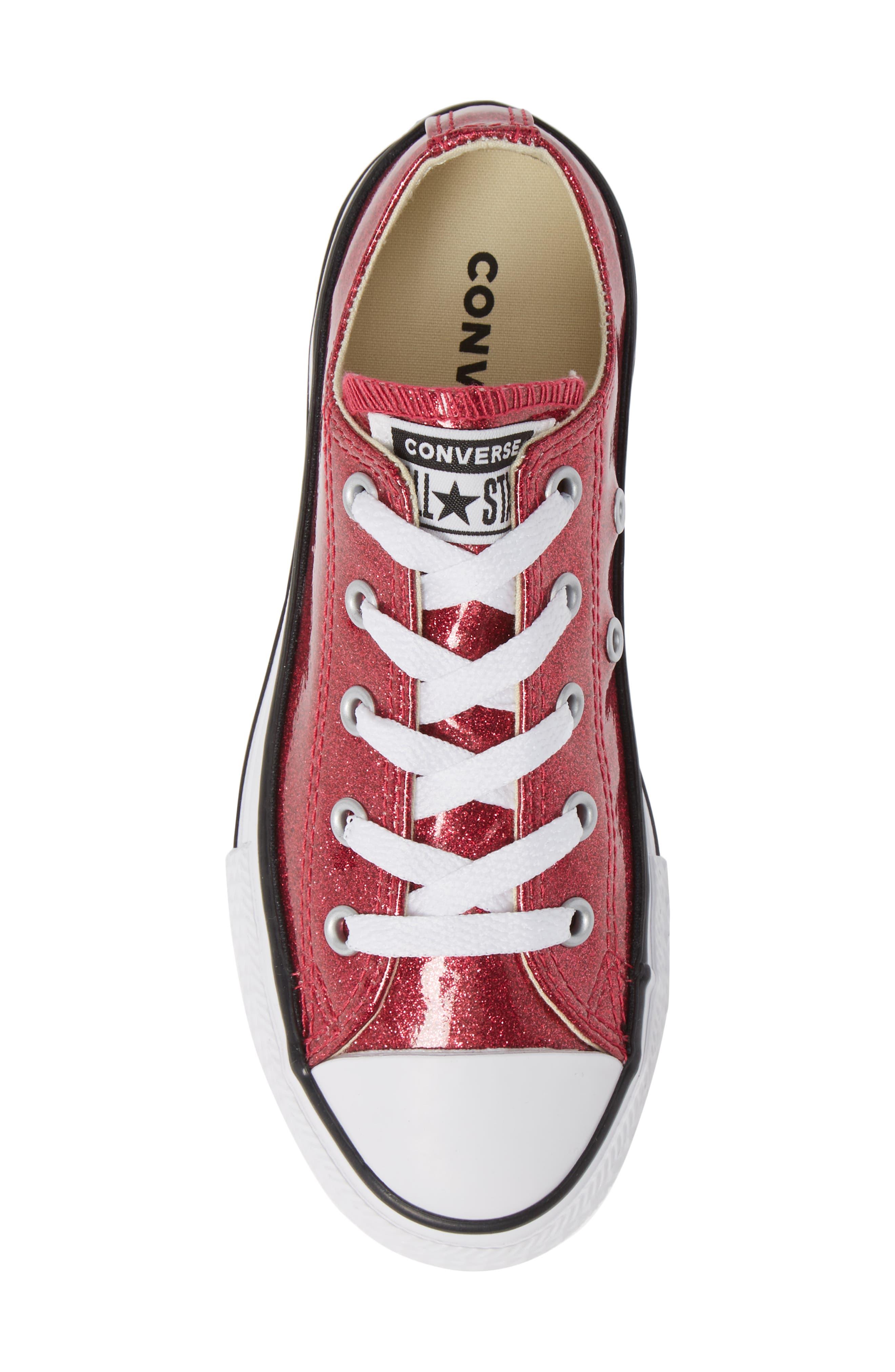 All Star<sup>®</sup> Seasonal Glitter OX Low Top Sneaker,                             Alternate thumbnail 5, color,                             PINK POP