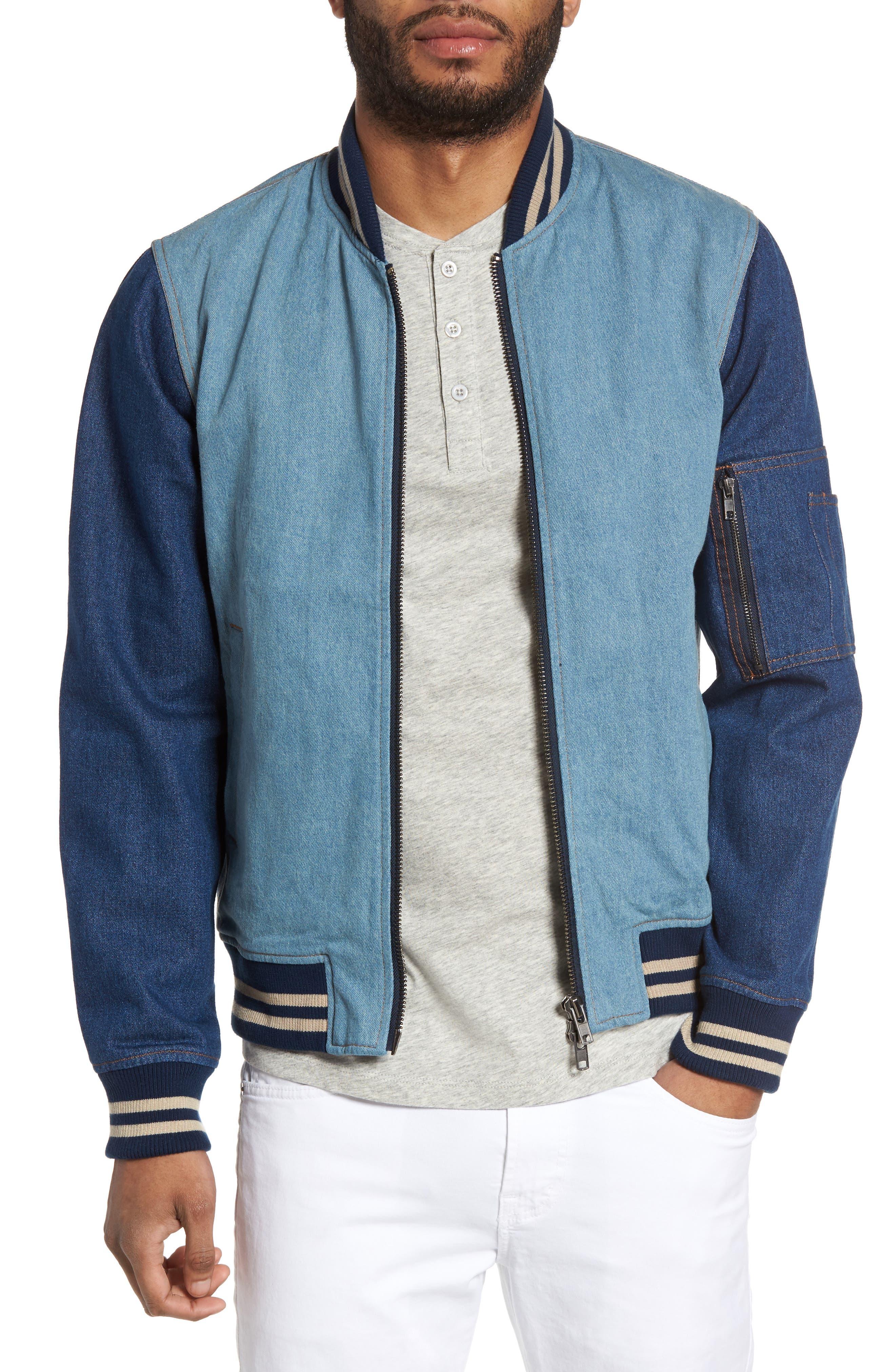 Denim Bomber Jacket,                         Main,                         color, 461