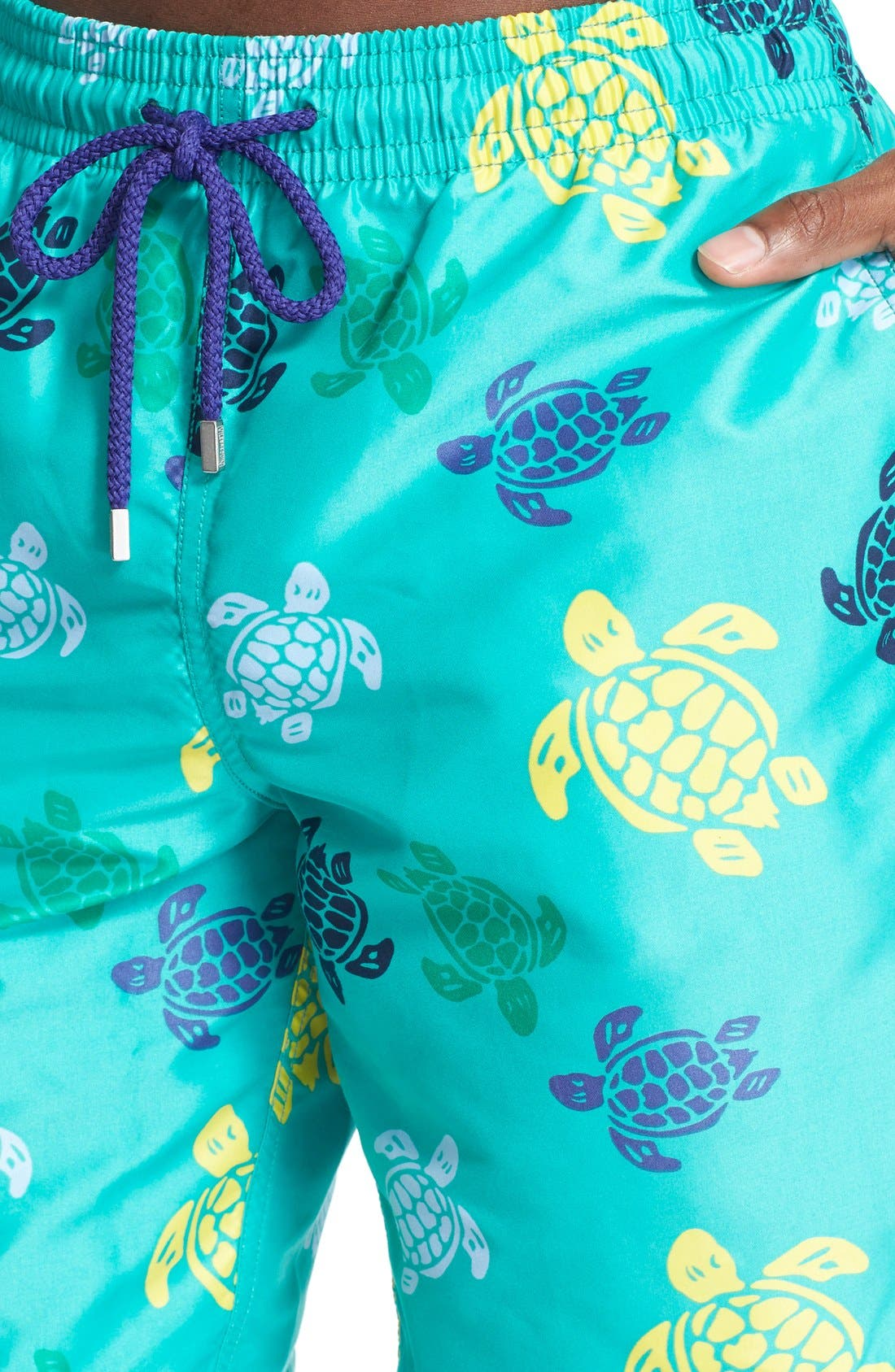 'Okoa' Turtle Print Swim Trunks,                             Alternate thumbnail 5, color,                             348