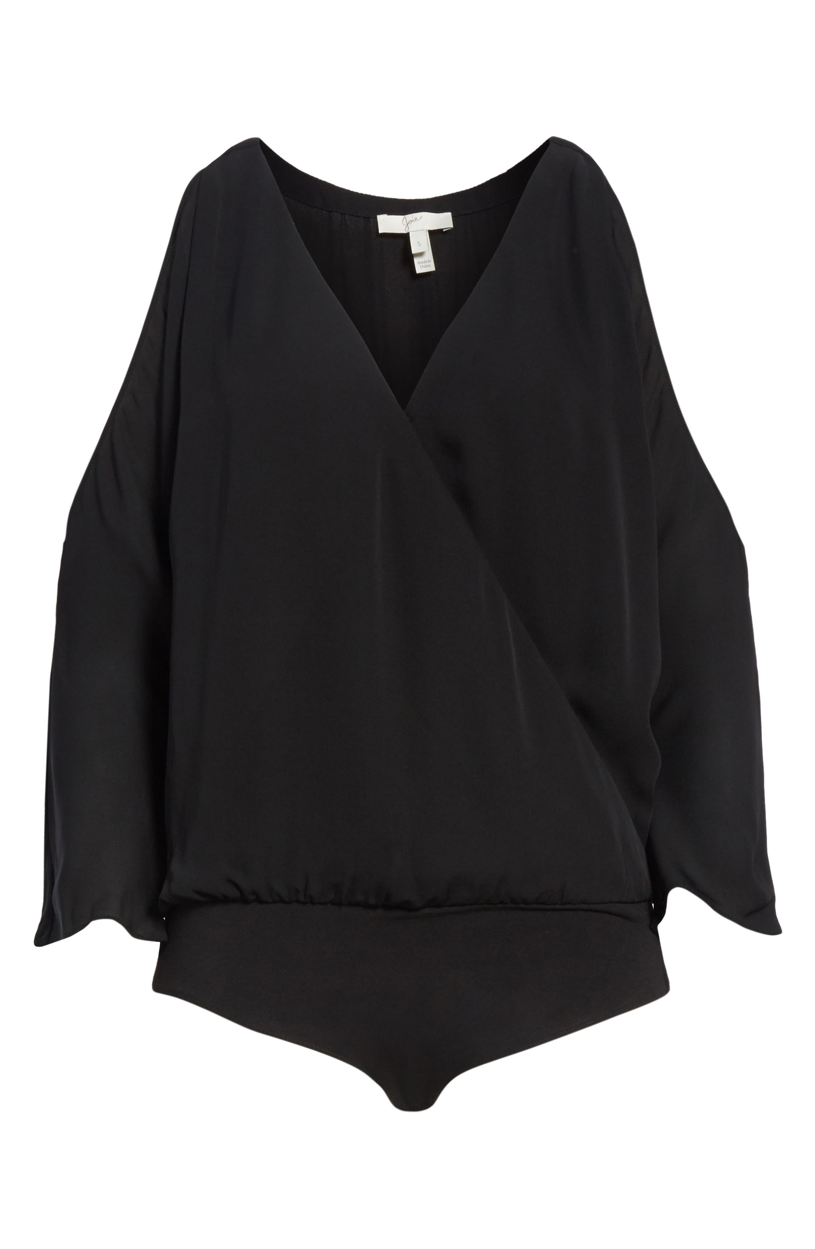Ahsaki Cold Shoulder Silk Bodysuit,                             Alternate thumbnail 6, color,                             002