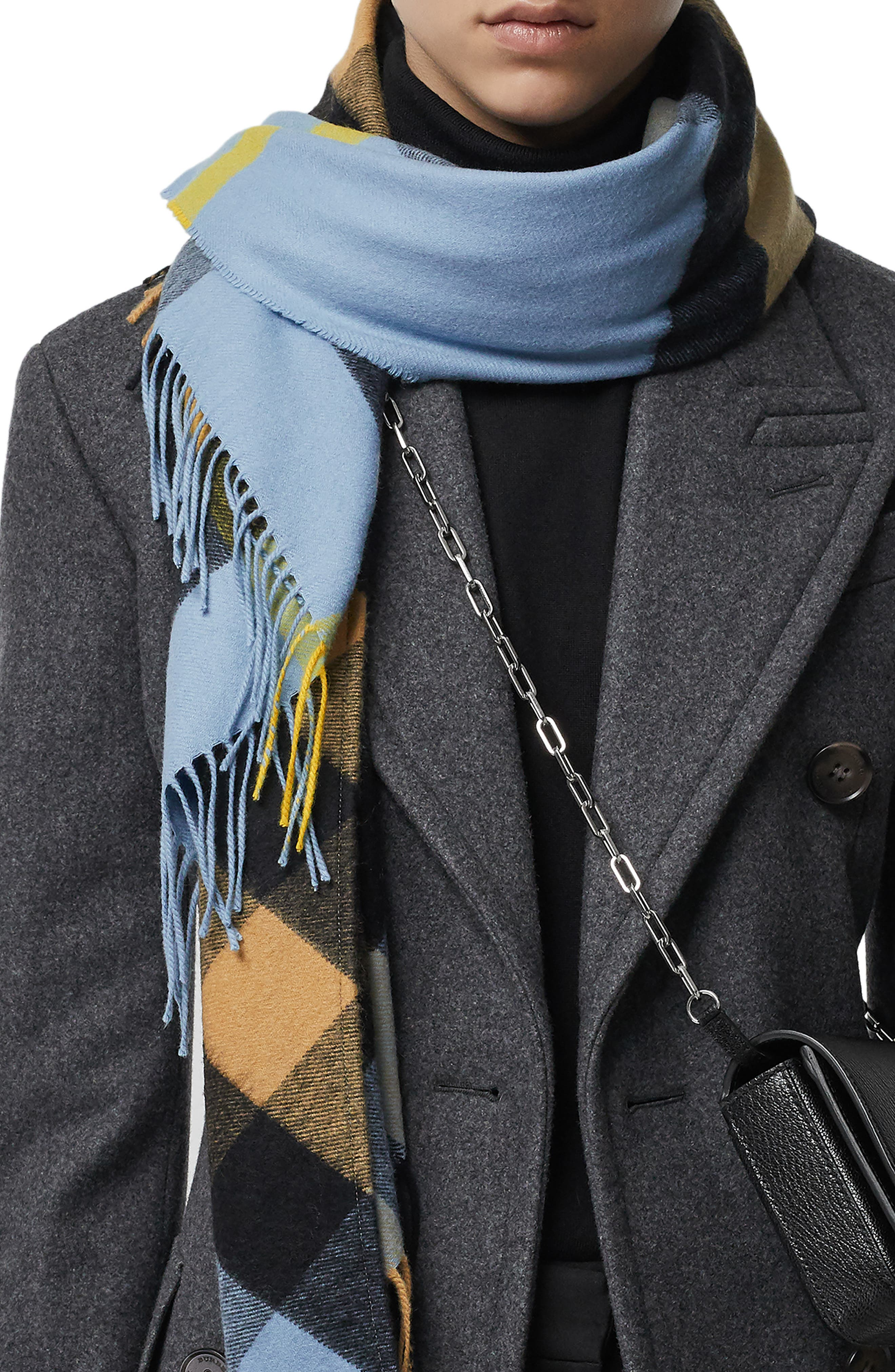BURBERRY,                             Mega Check Cashmere Scarf,                             Alternate thumbnail 5, color,                             PALE CARBON BLUE